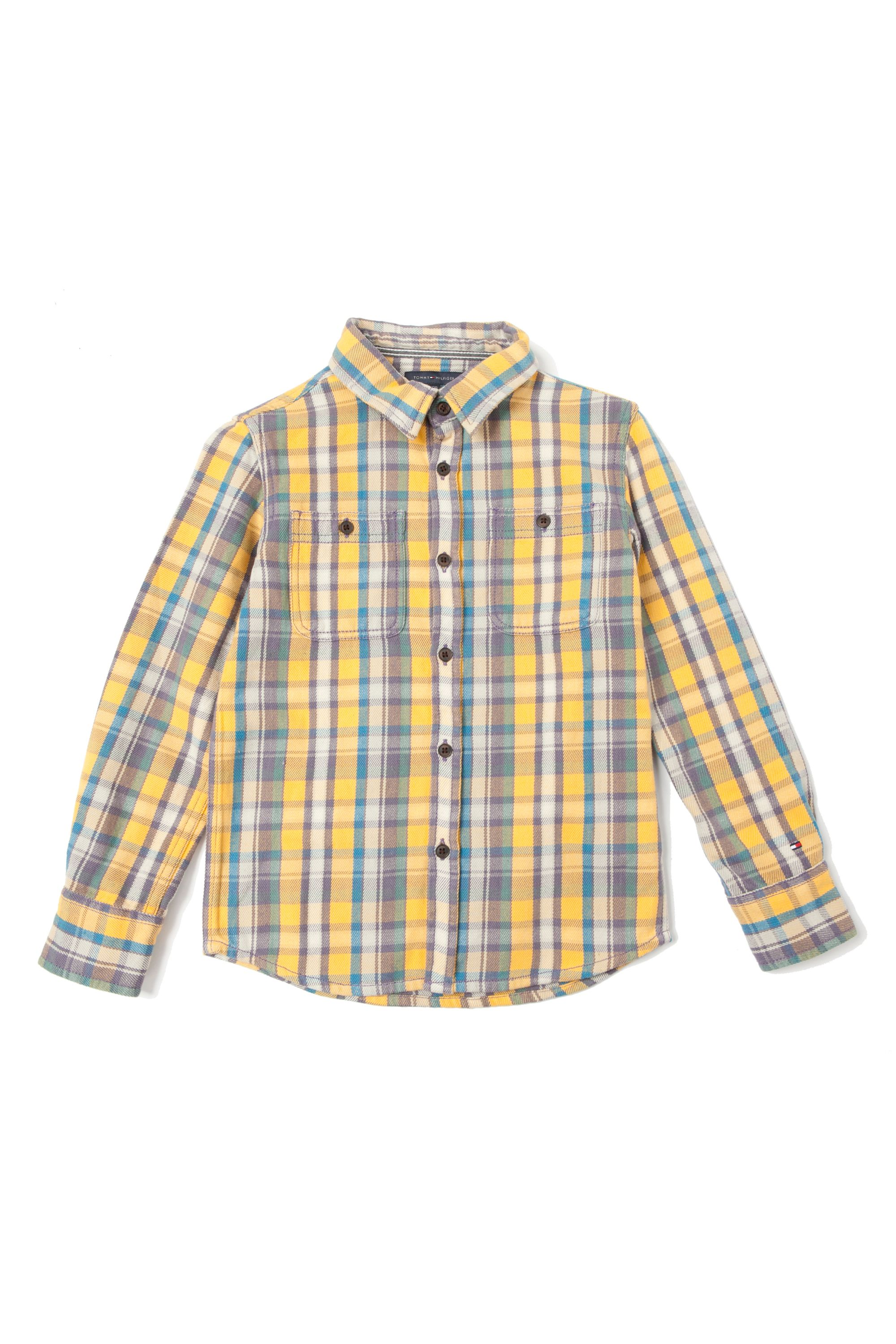 Boy`s yellow check rugby shirt