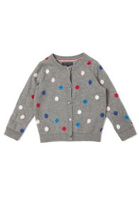 Girl`s dotted crew neck cardigan