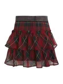 Girl`s tiered check skirt