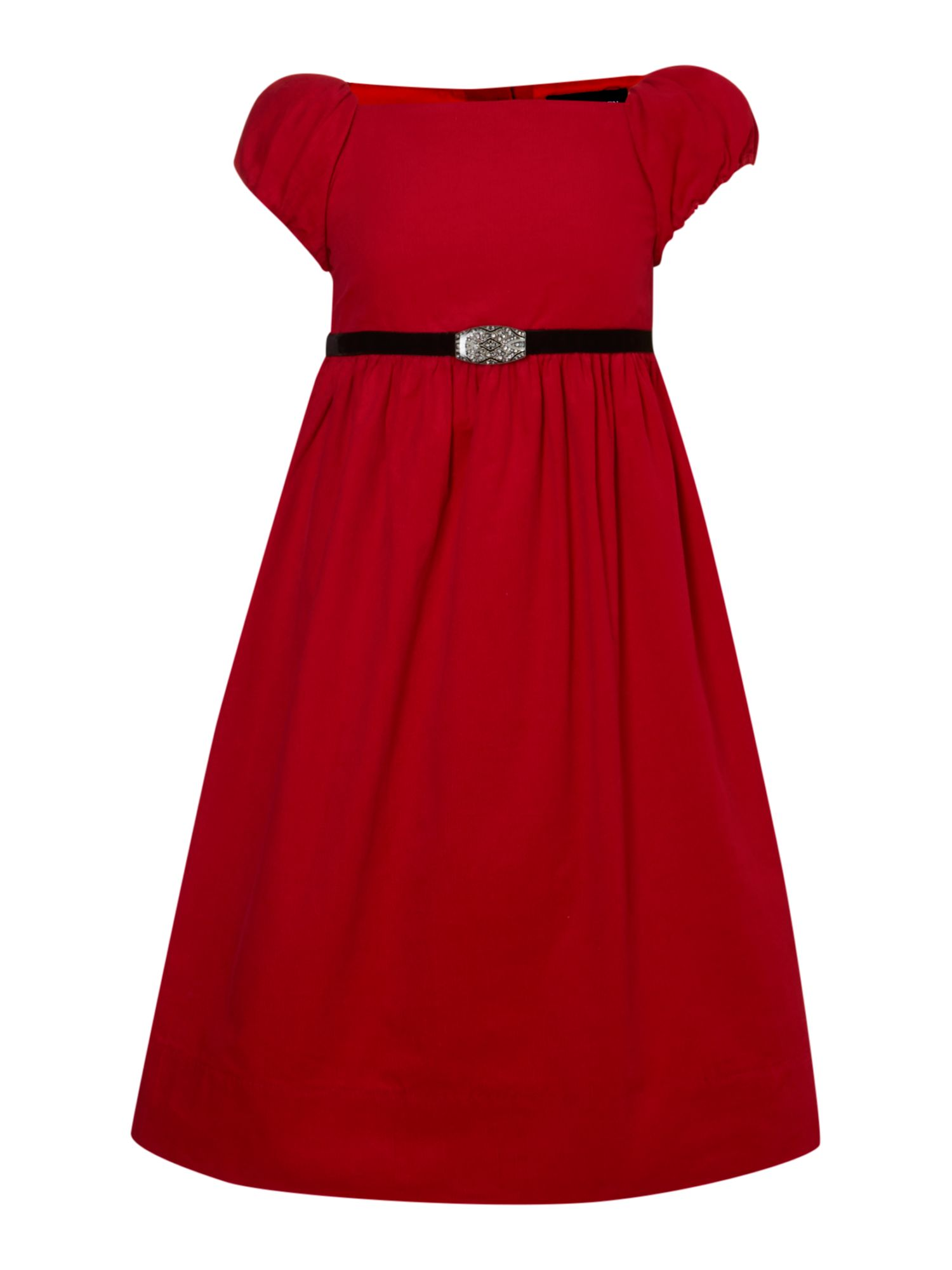 Girl`s cord belted dress