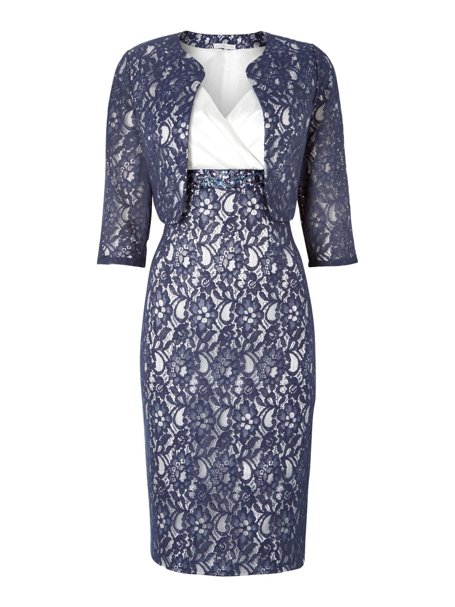 Shubette Lace and Satin Dress and Jacket, Navy & White