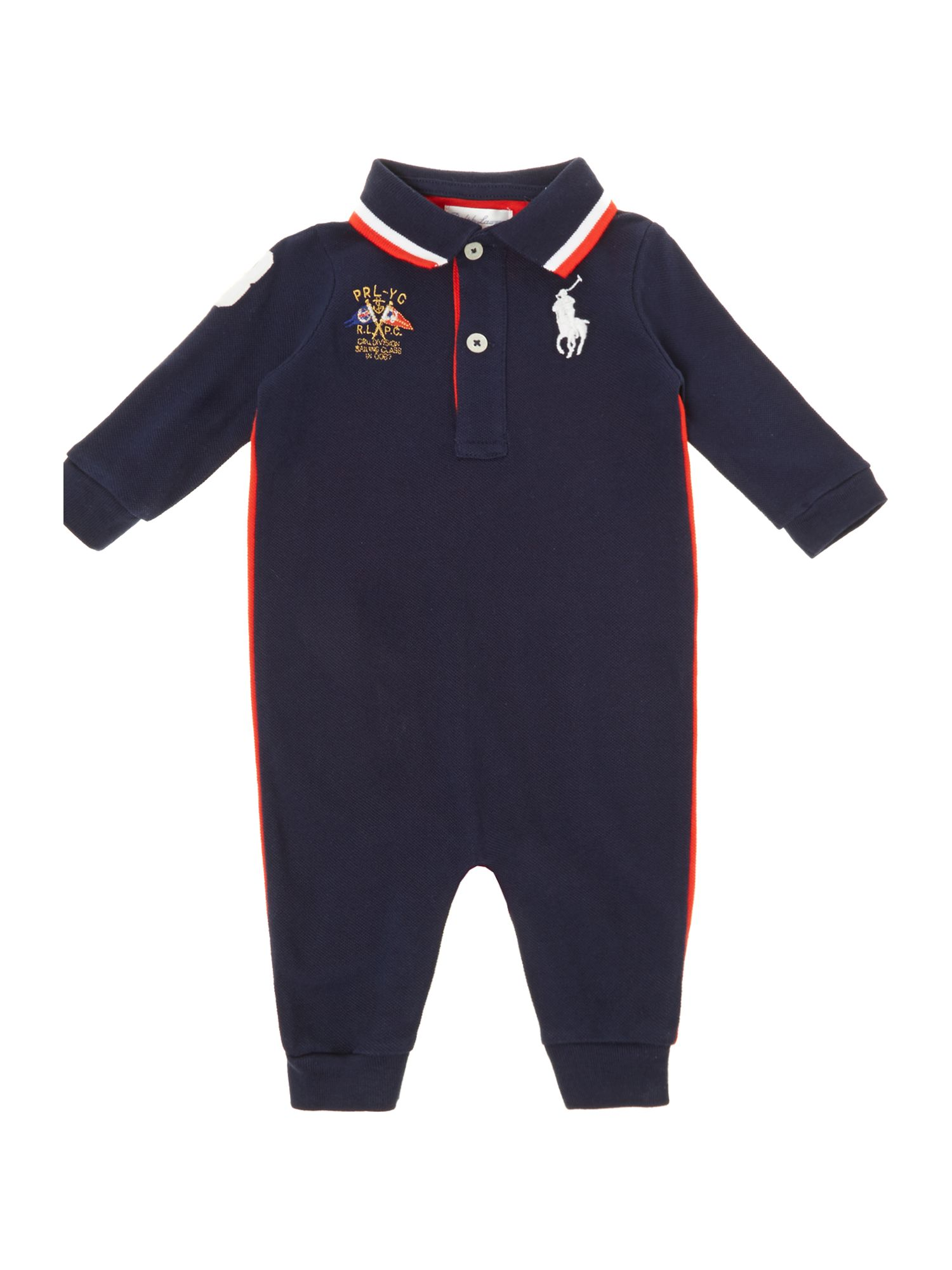 Boy`s contrast back polo all-in-one