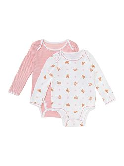 Girl`s Teddy And Stripe Two Pack Bodysuit