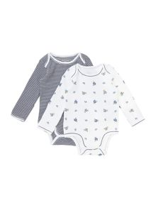 Boy`s teddy and stripe two pack bodysuit