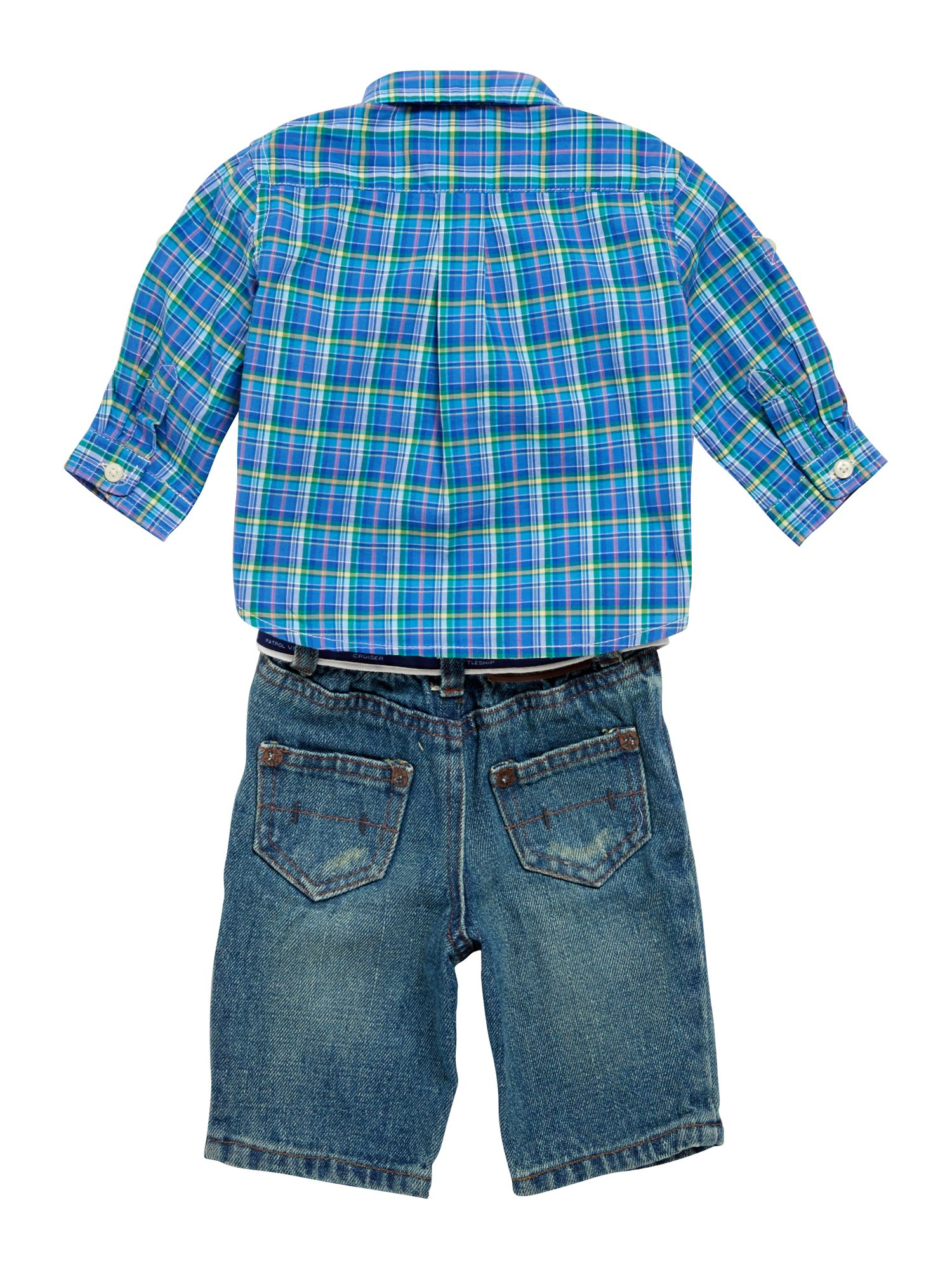 Boy`s check shirt and jeans set