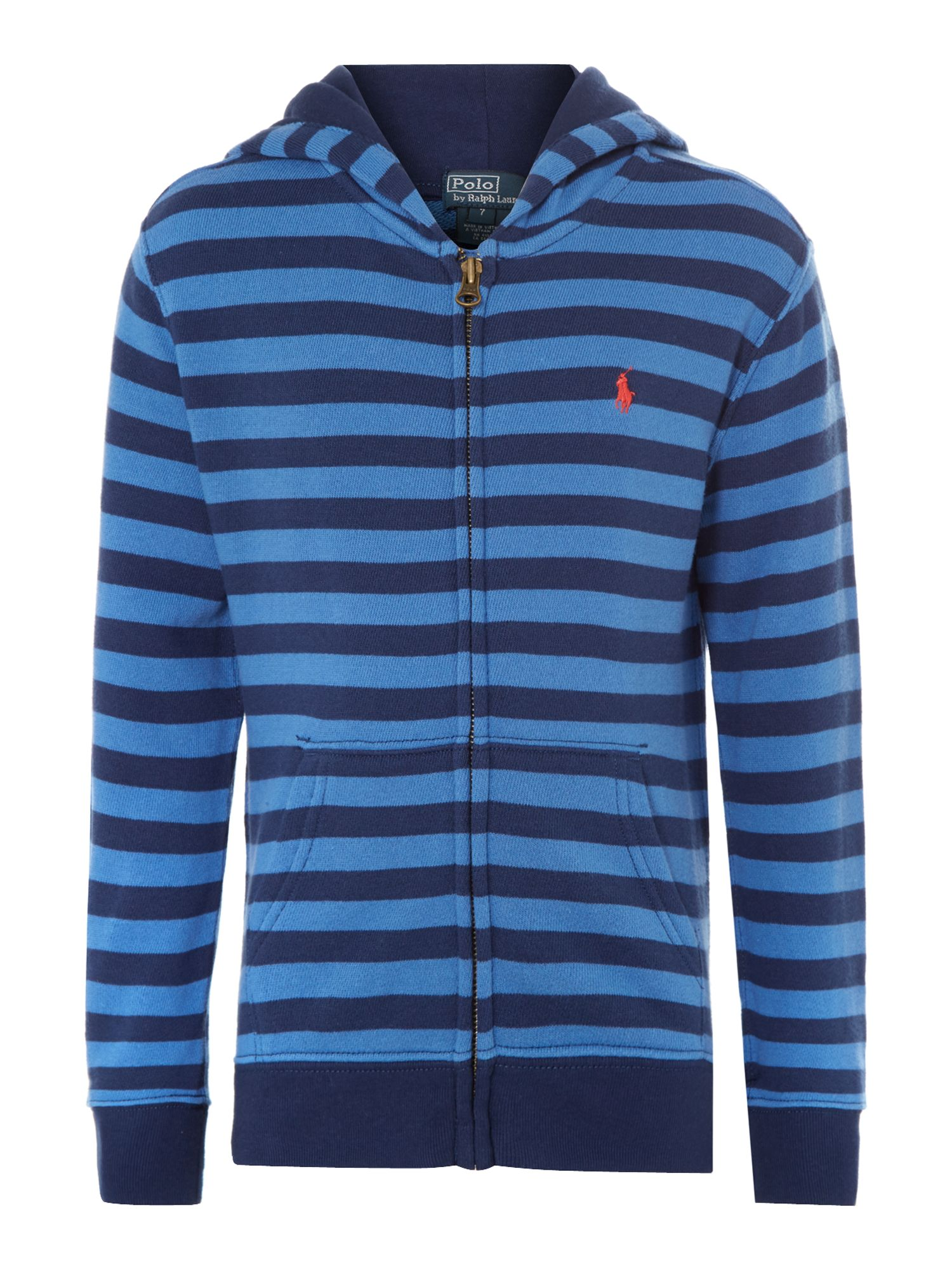Boy`s stripe zip through hoody