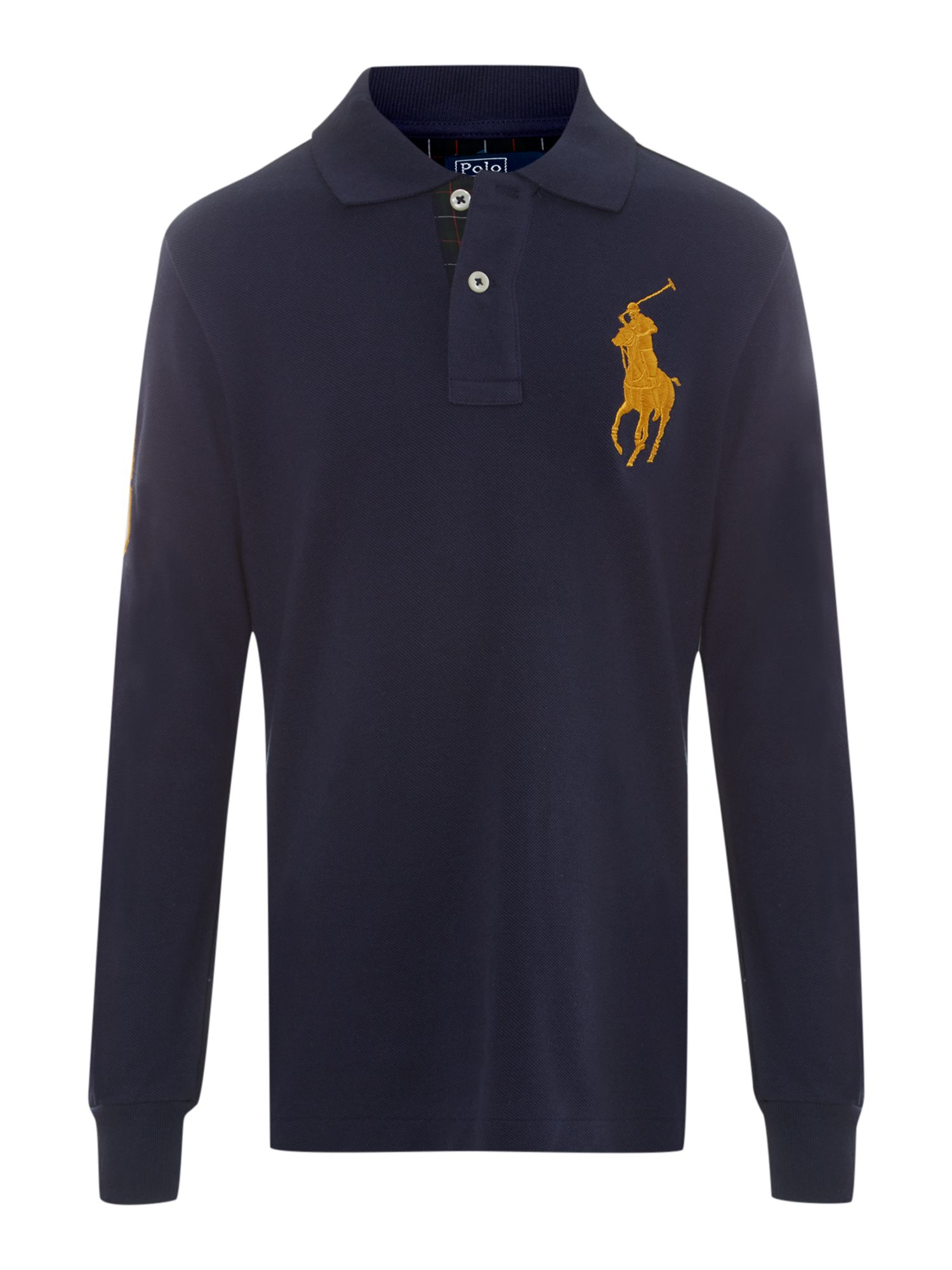 Boy`s long sleeved gold logo polo