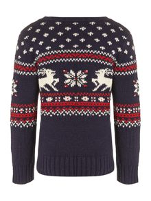 Boy`s crew neck fairisle knit