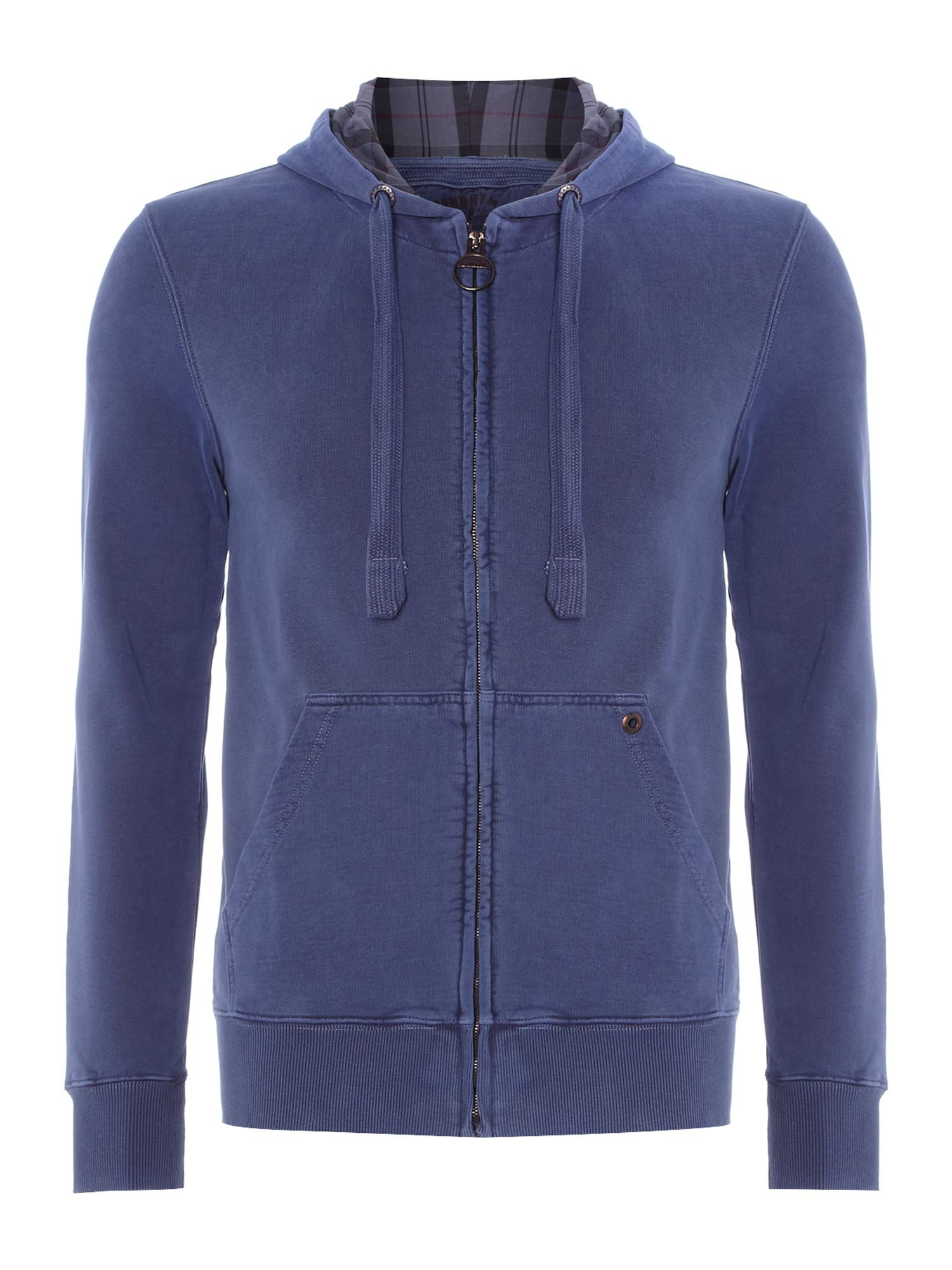 Laundered hooded zip through sweatshirt