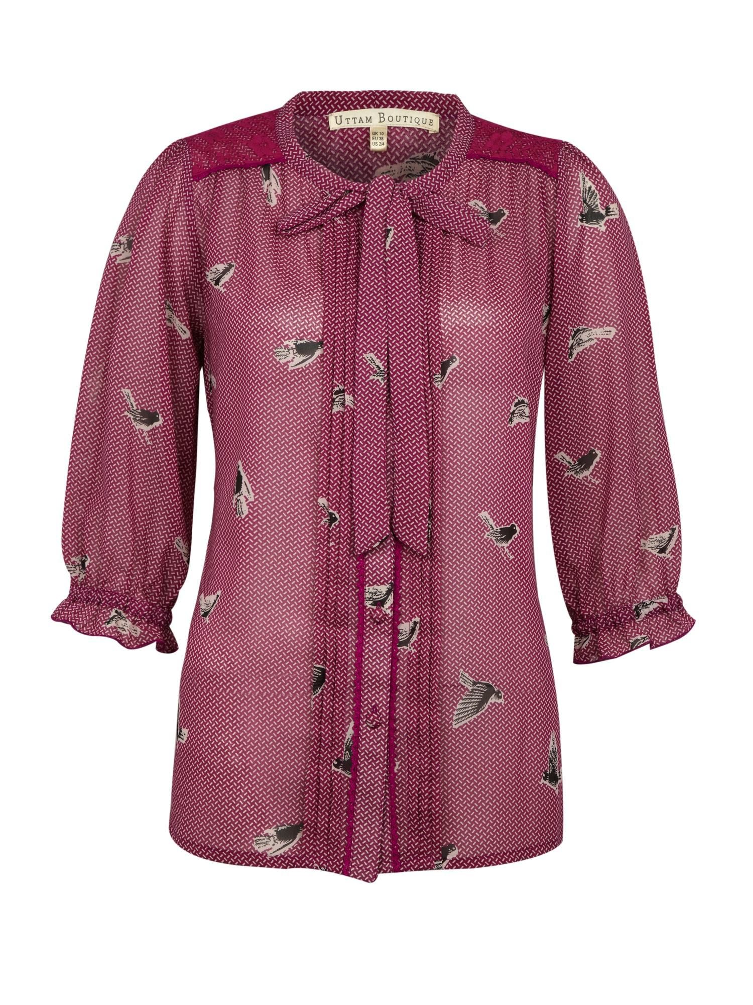 Printed birds blouse
