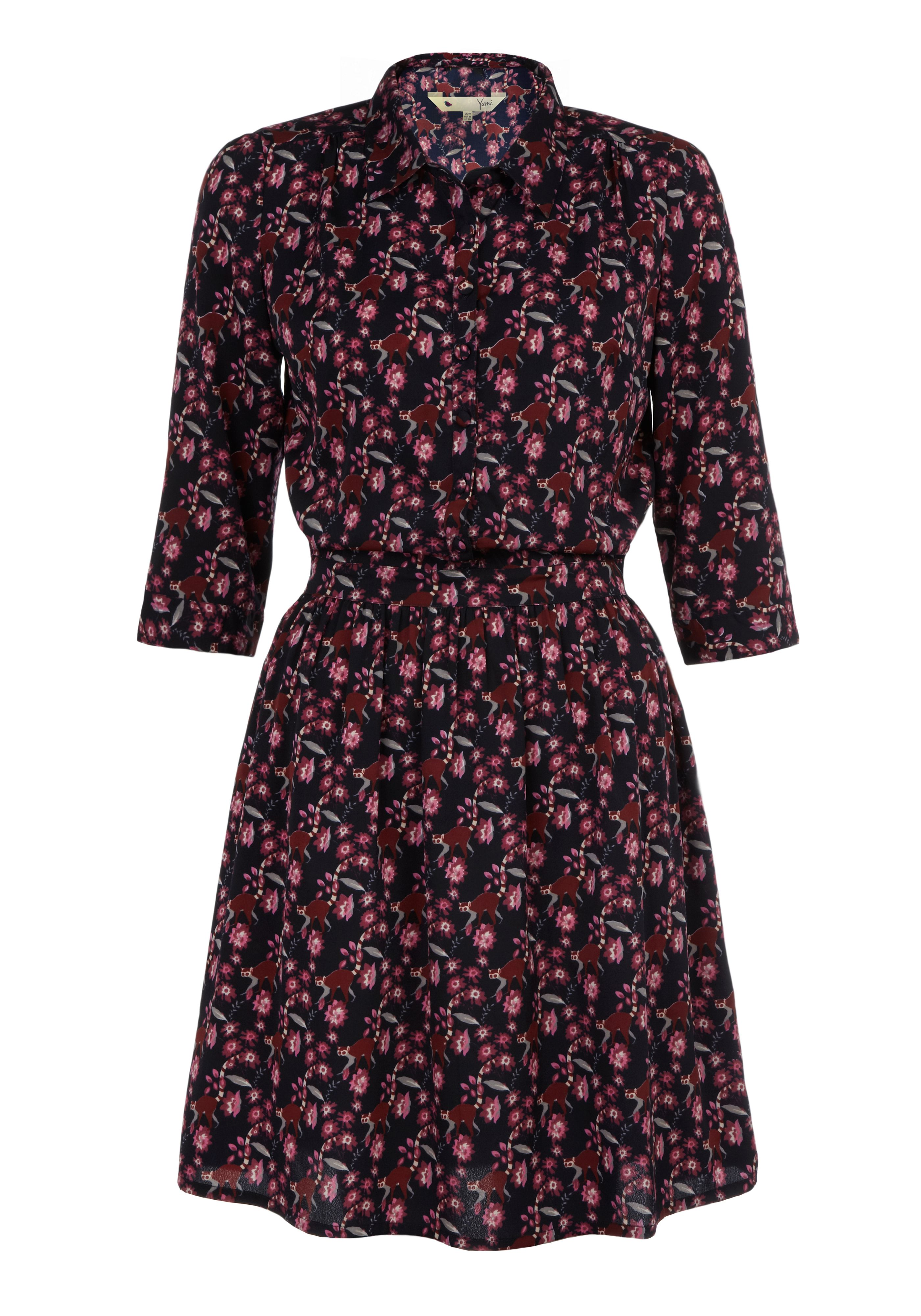 Lemur print shirt dress