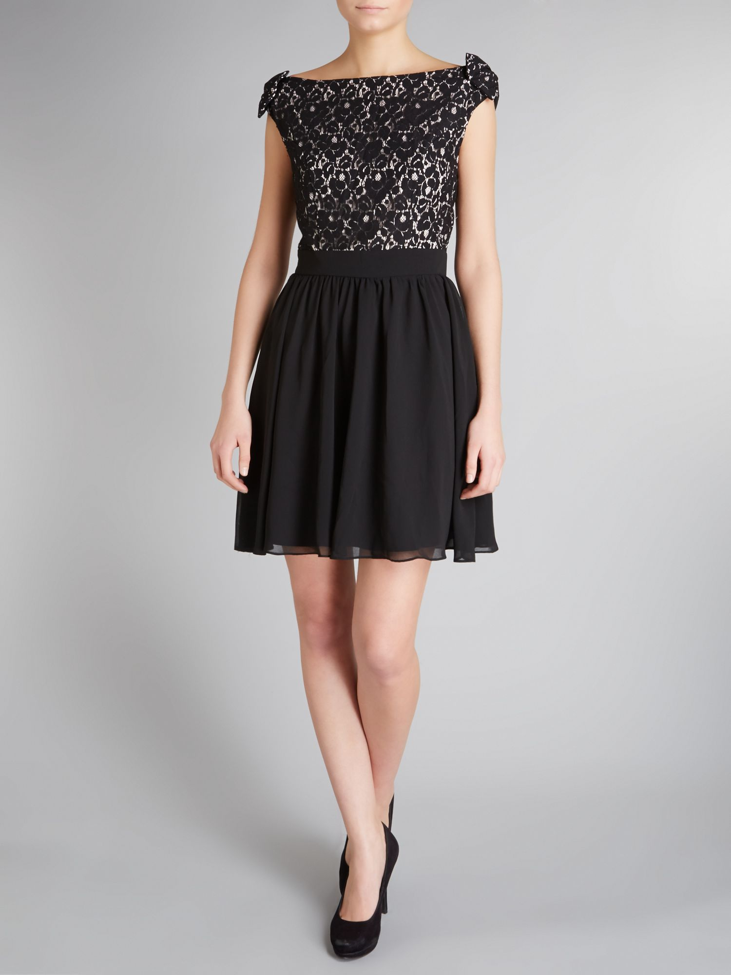 Lace cut out waist fit and flare dress