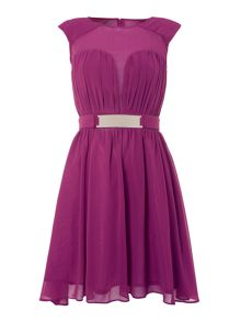 Little Mistress Pleated fit and flare dress