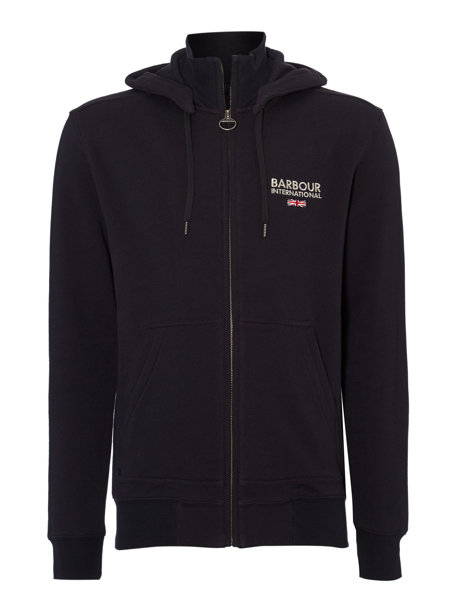 Cylinder zip through hooded sweatshirt
