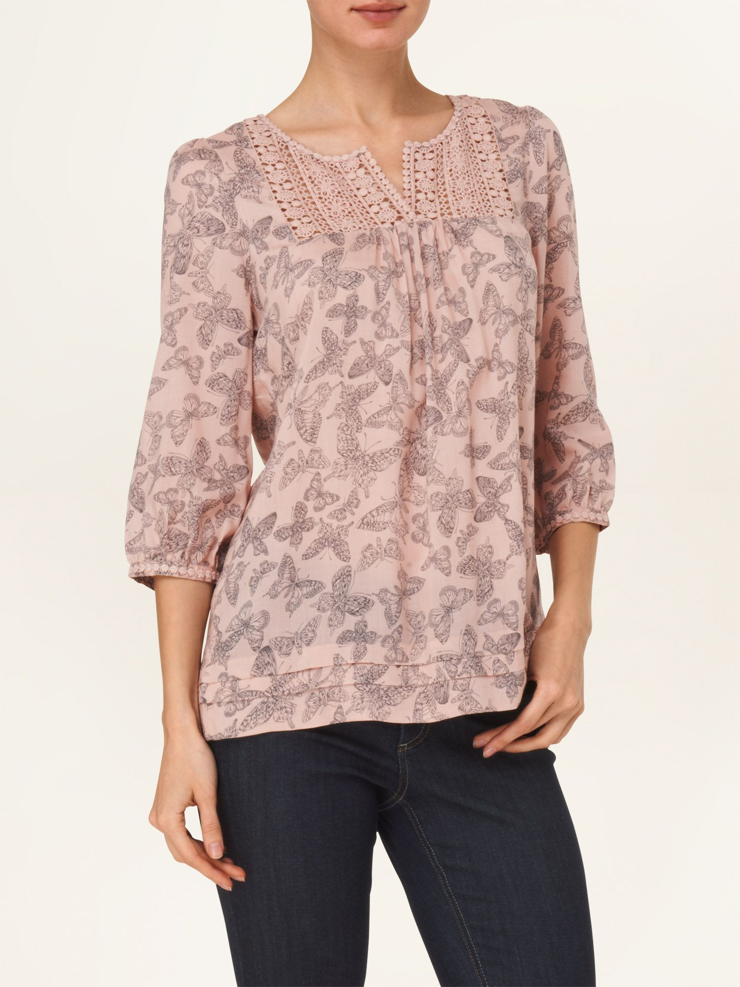 Bea butterfly crochet trim blouse