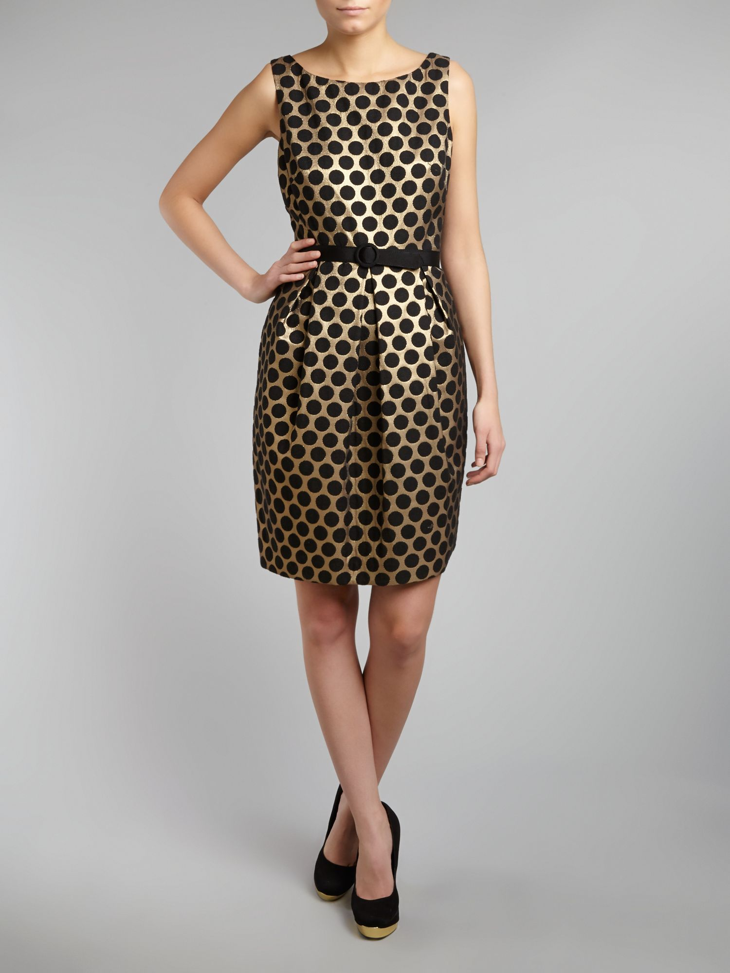 Spotted Jaquard Shift Dress