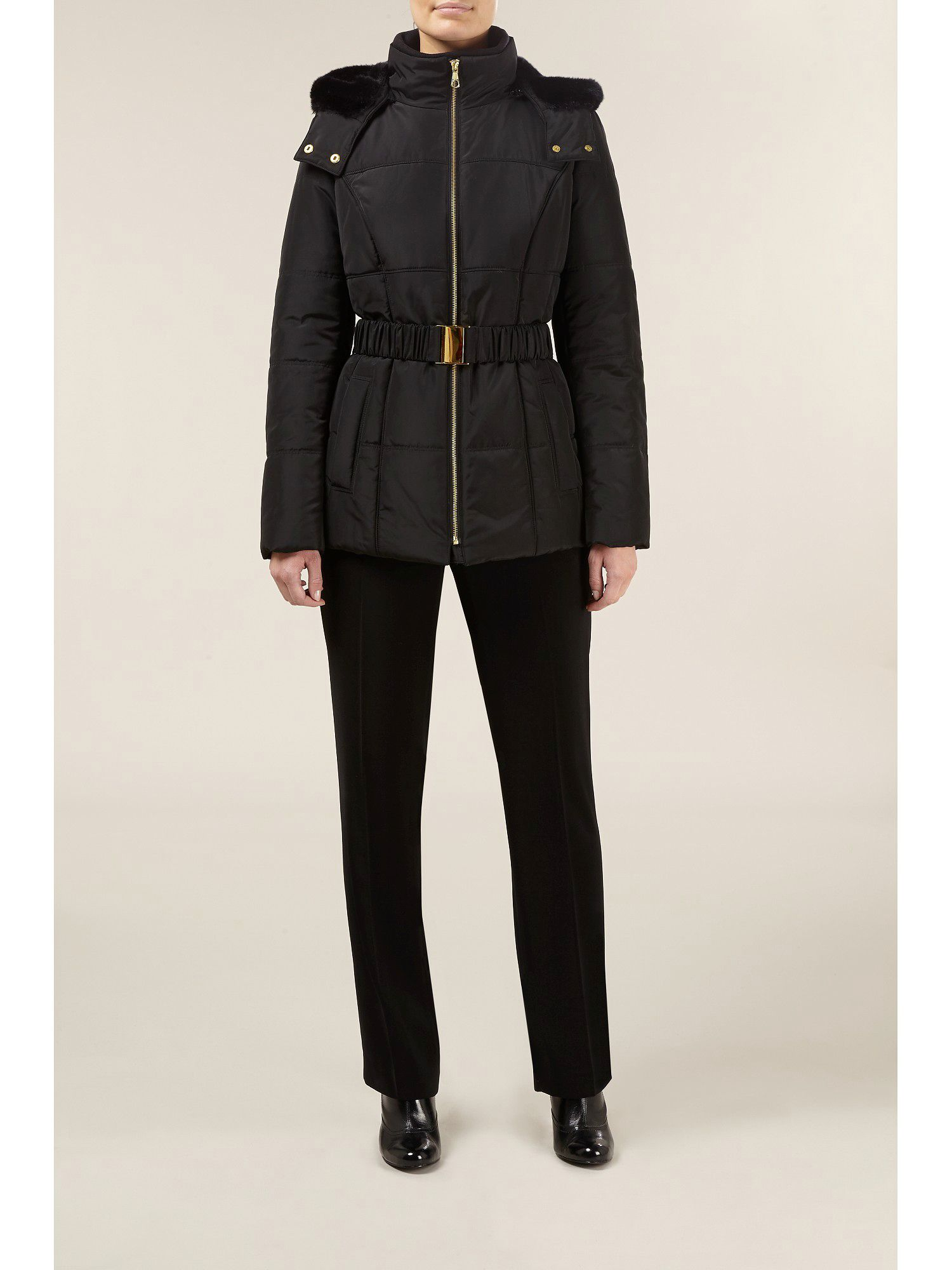 Short black padded coat