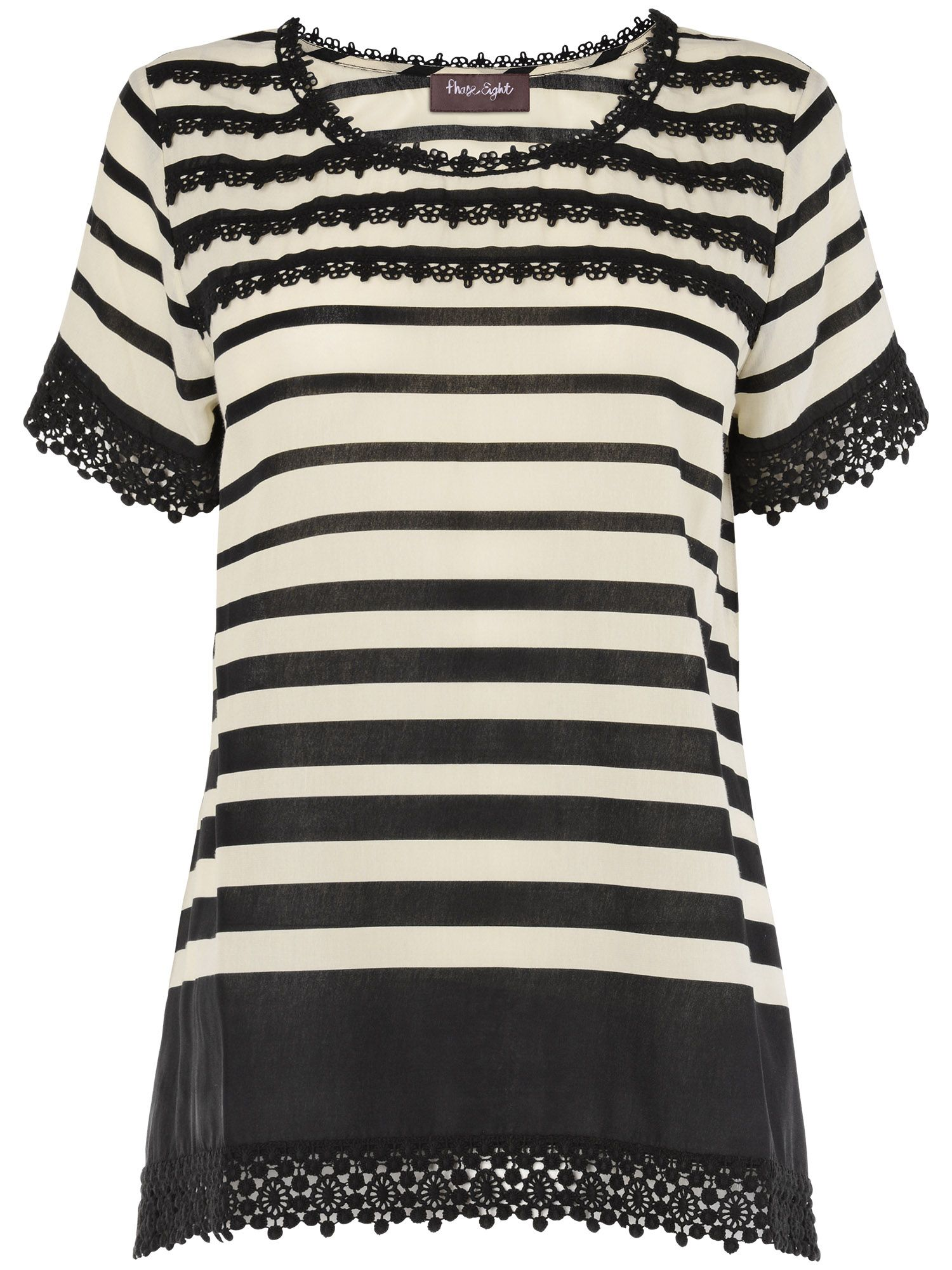 Zena stripe and crochet lace top