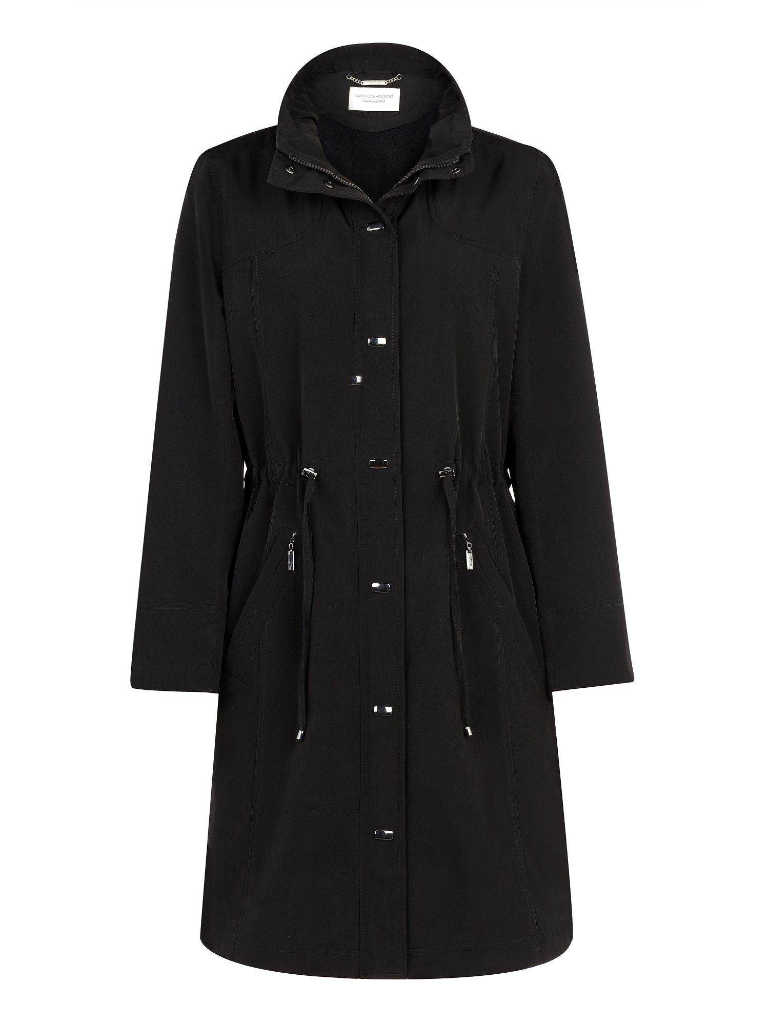 Mid length black raincoat