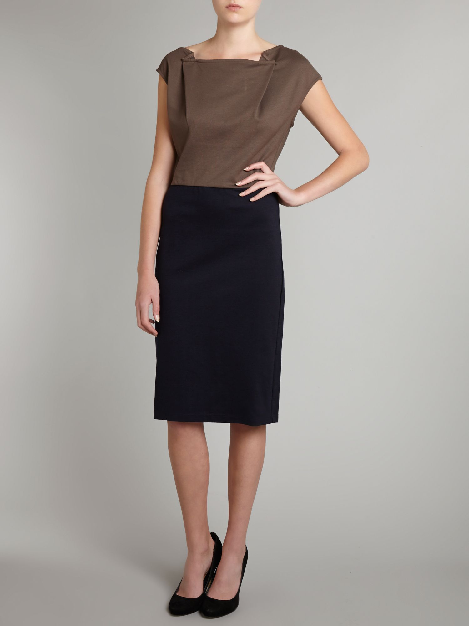 AJ pleat neck pencil dress