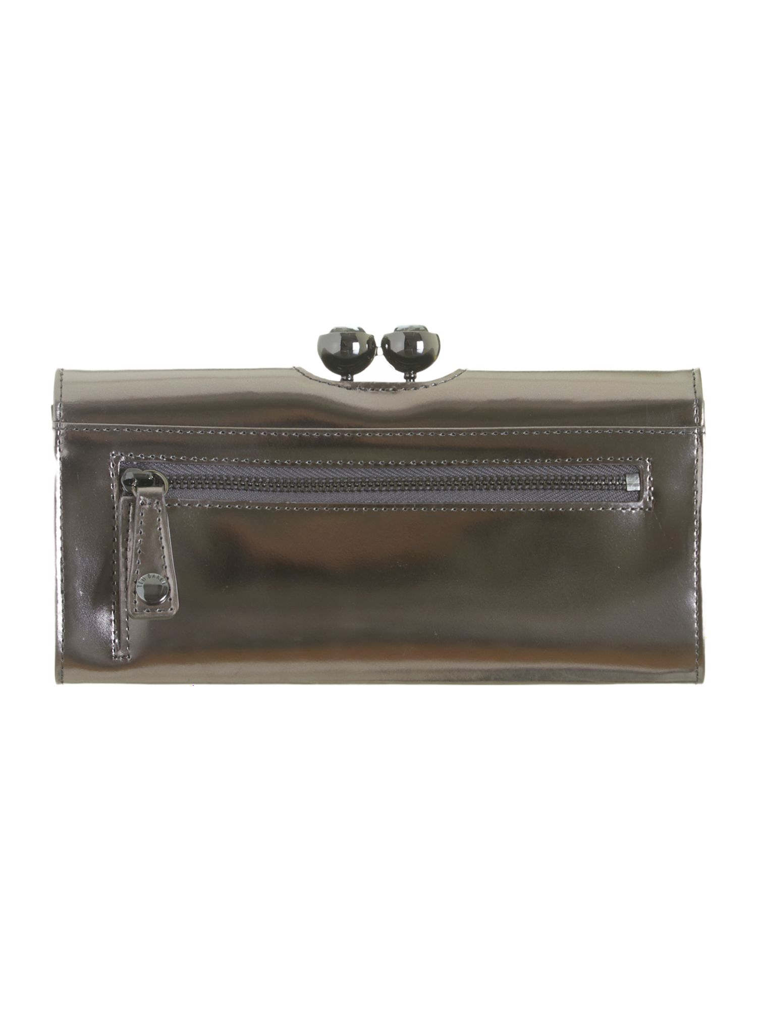 Gunmetal crystal top leather purse