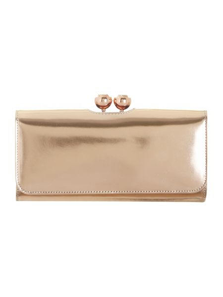 Ted Baker Pink metallic crystal top leather purse