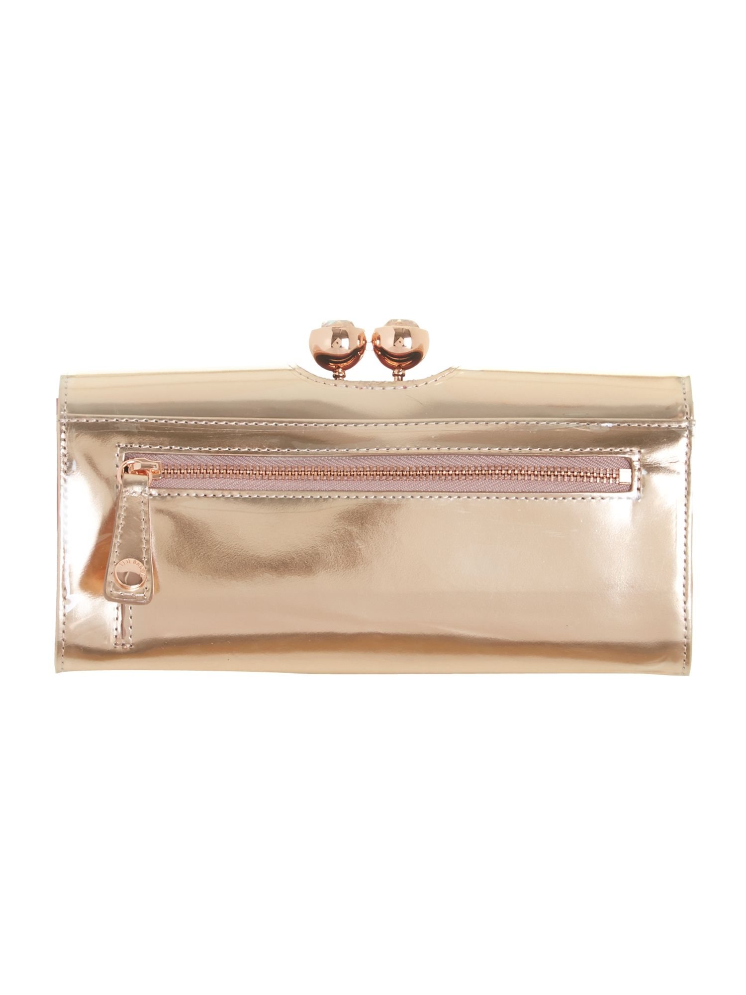 Pink metallic crystal top leather purse