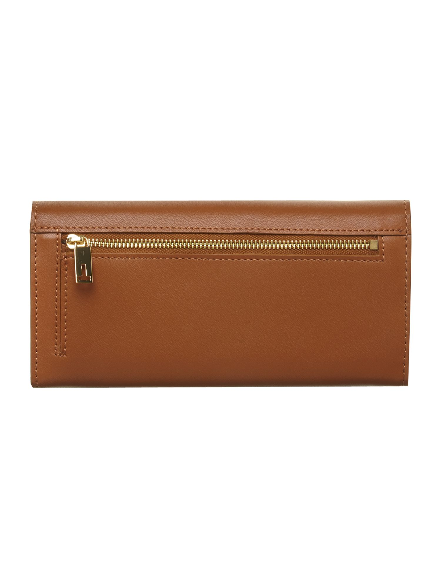 Tan bow leather flapover purse