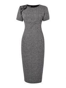 Tweed lace detail dress