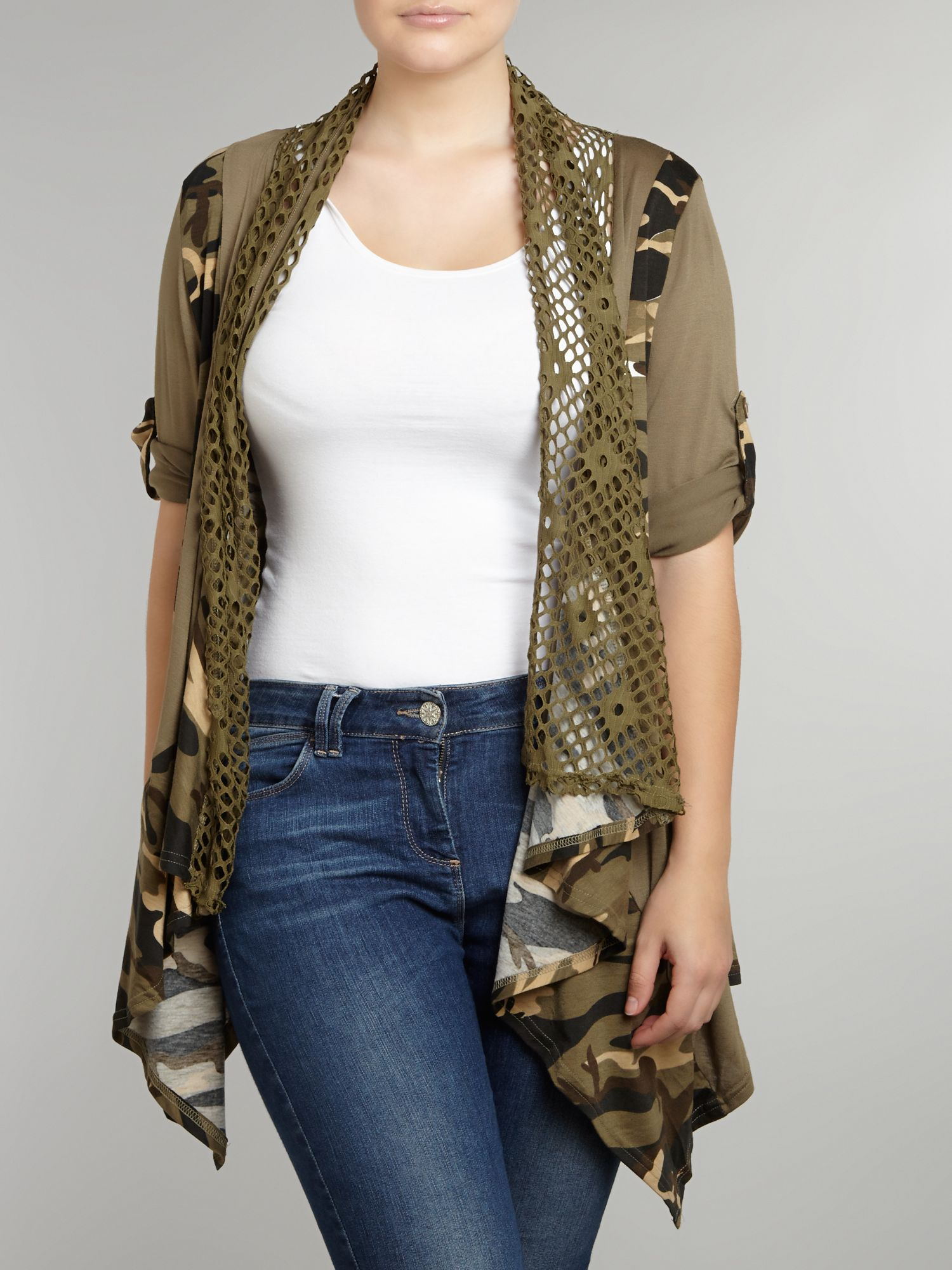 Camouflage waterfall cardigan