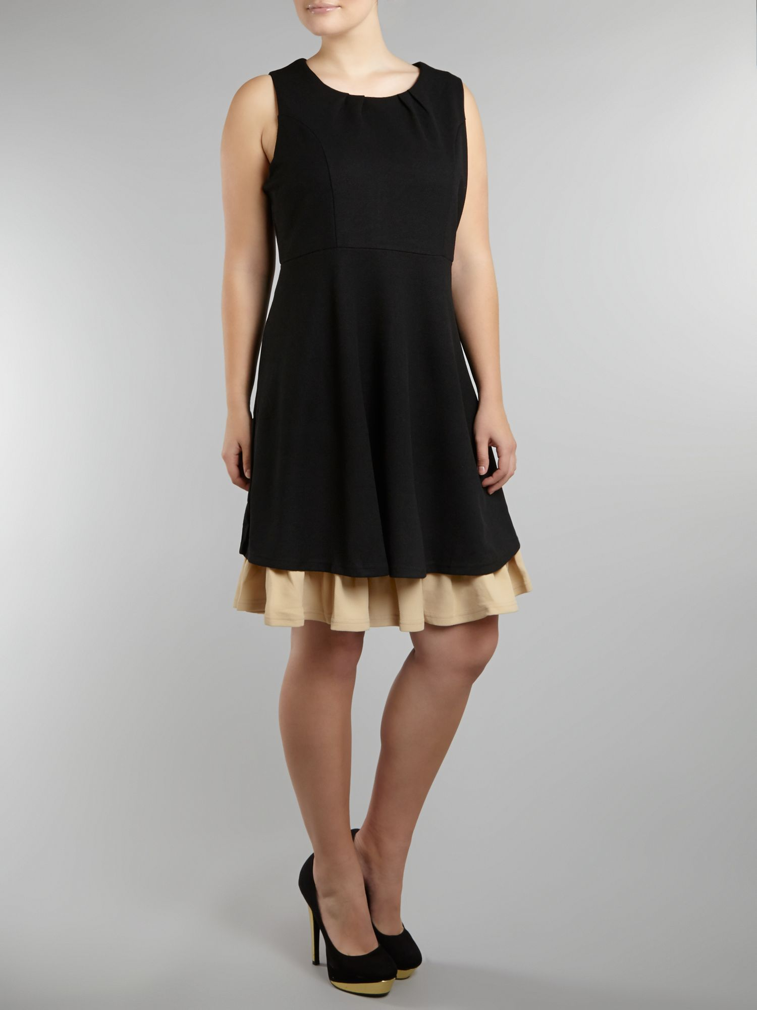 Contrast double hem skater dress