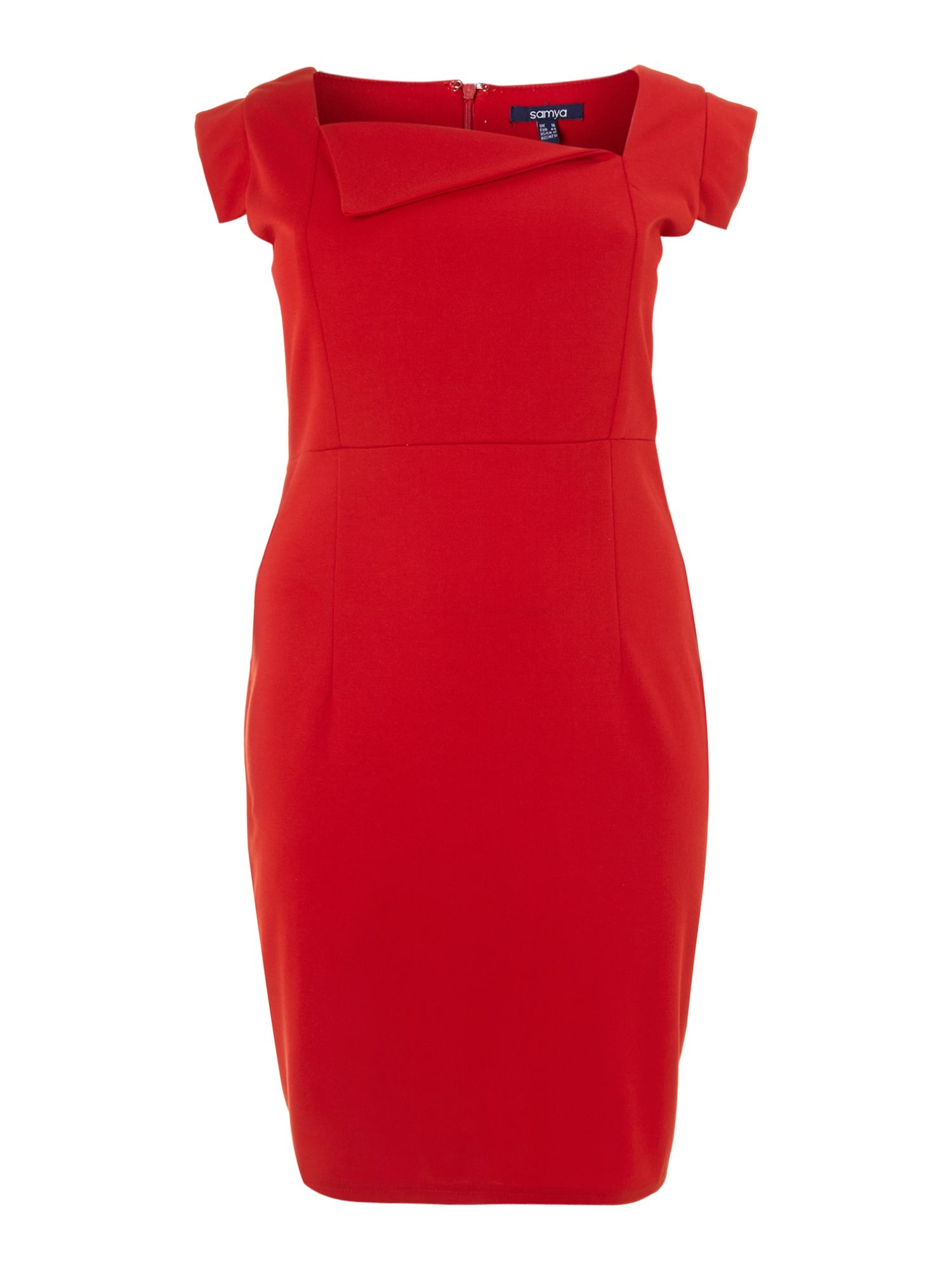 Asymmetric neck bodycon dress