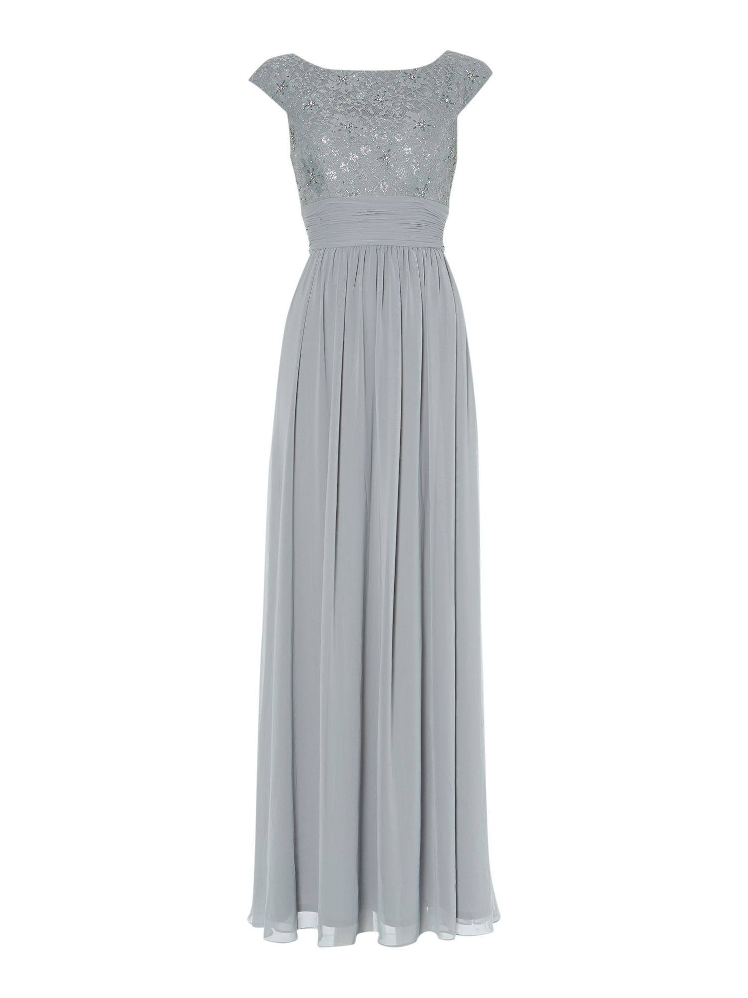 Bridesmaid Lace Top Chiffon Maxi Gown