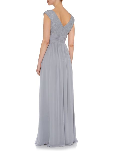 Eliza J Bridesmaid lace top chiffon maxi gown