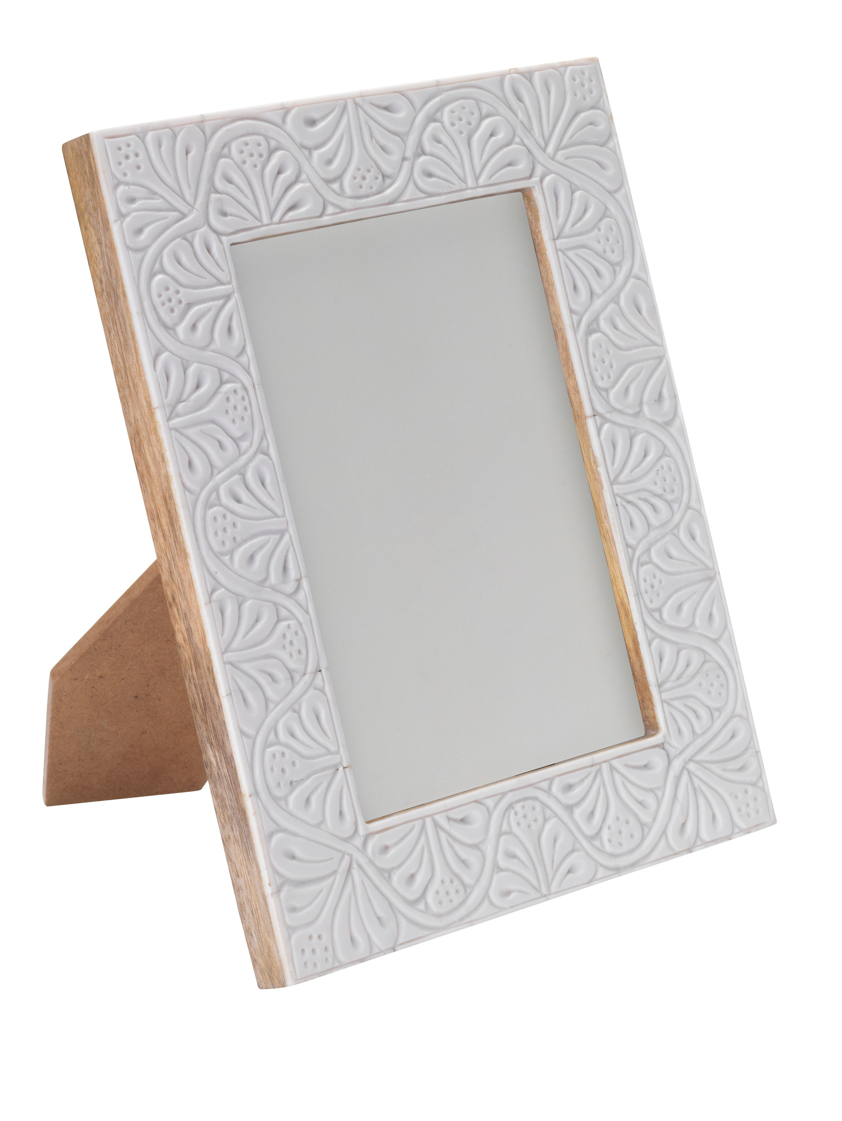 White embossed photo frame 5 x 7