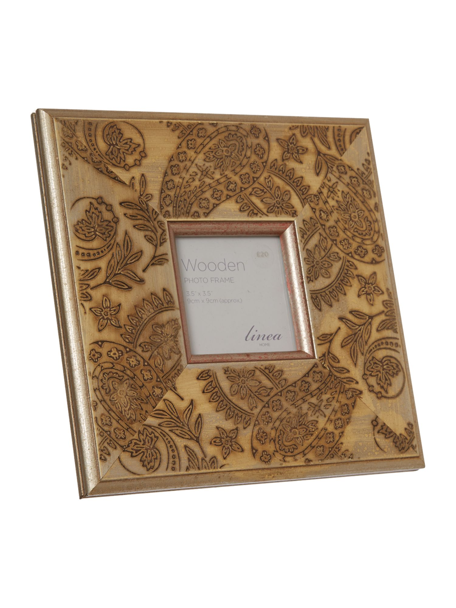 Etched gold washed wooden photo frame 4x4