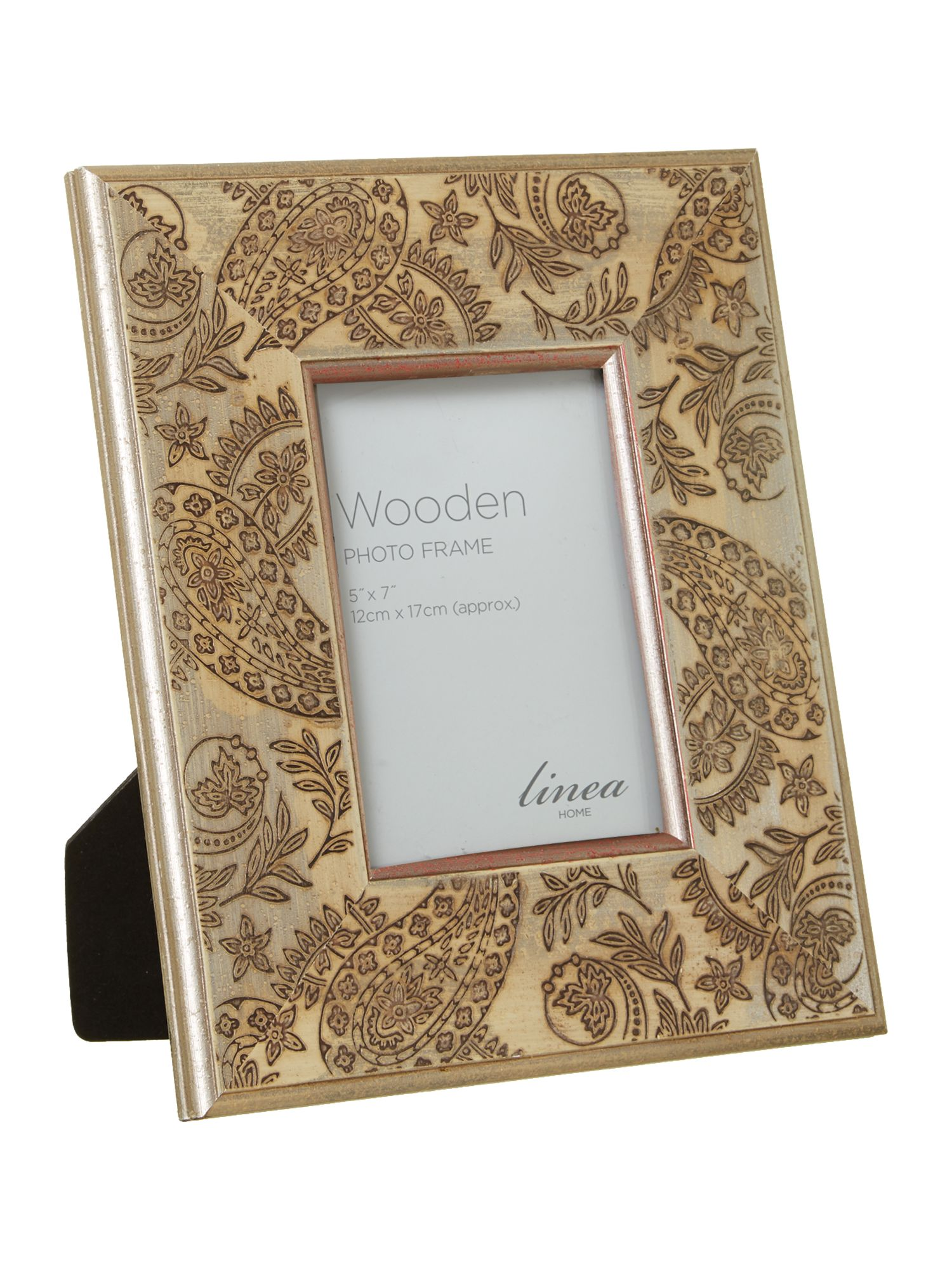 Etched gold washed wooden photo frame 5x7