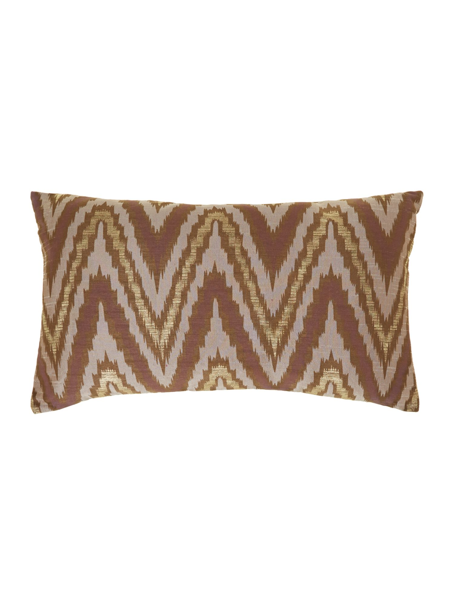 Ikat design oblong cushion, metallic