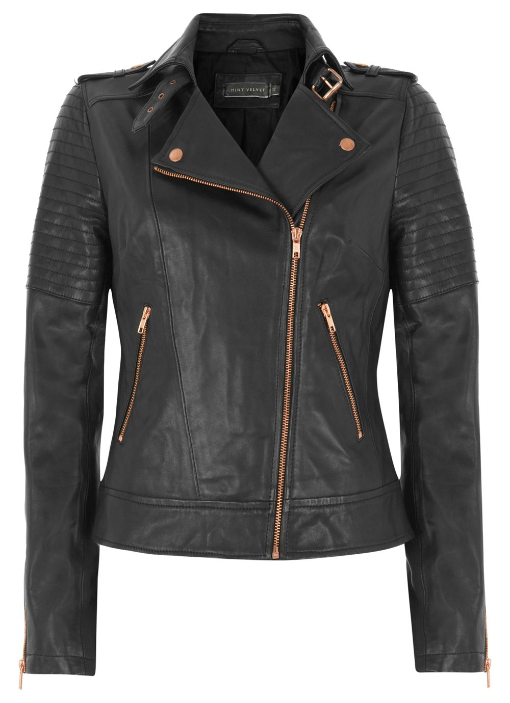 Zip leather biker jacket