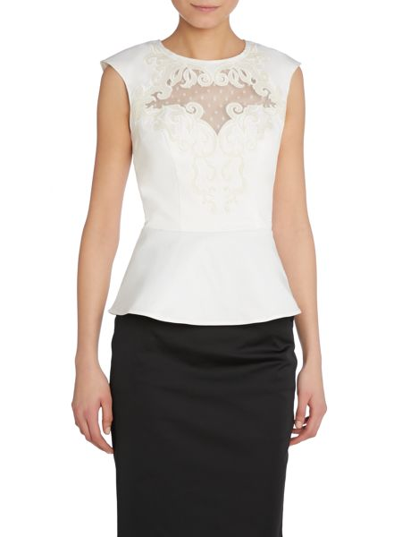 Lipsy Embroidered peplum top