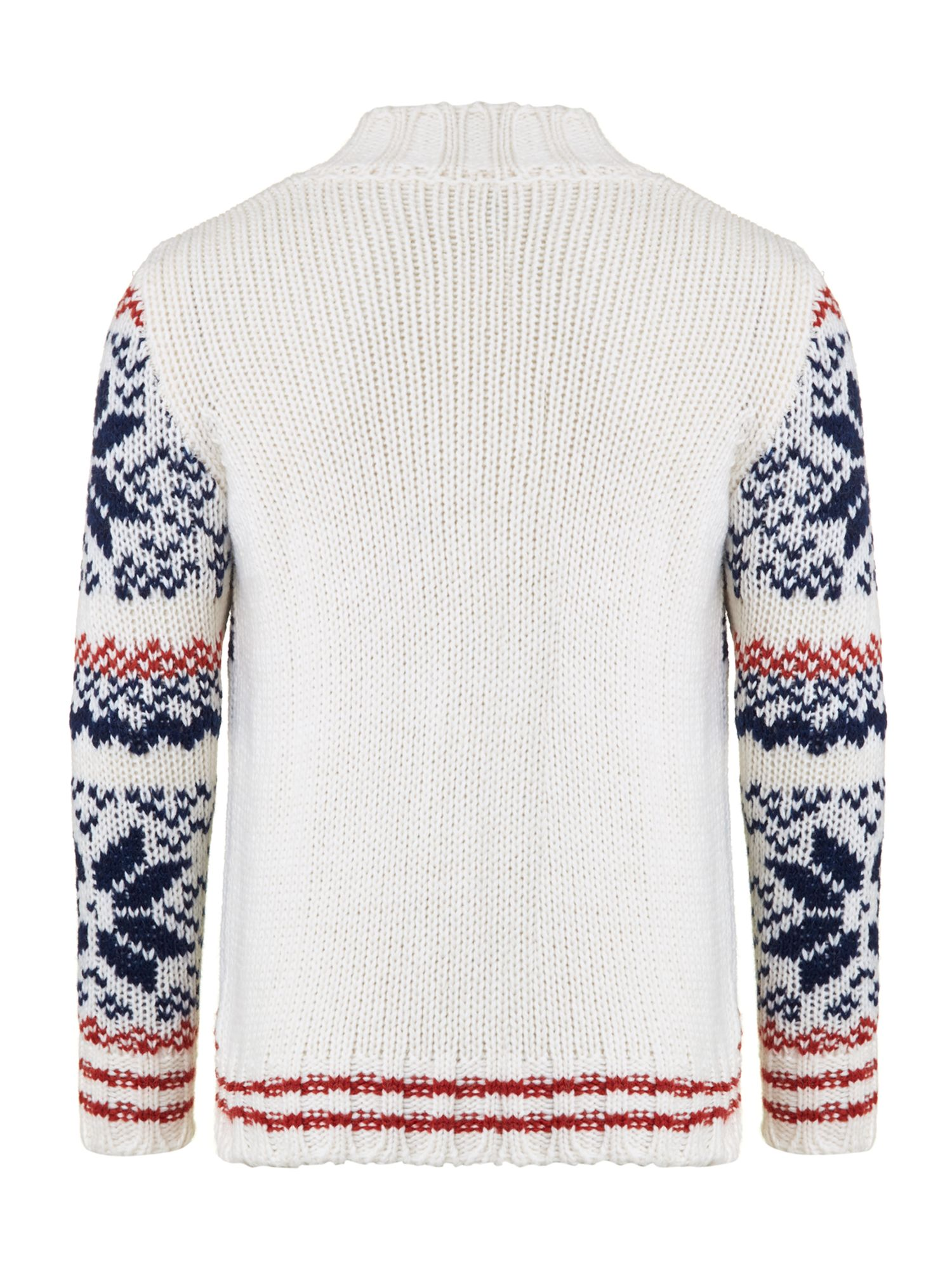 Boy`s zip through fairisle knit