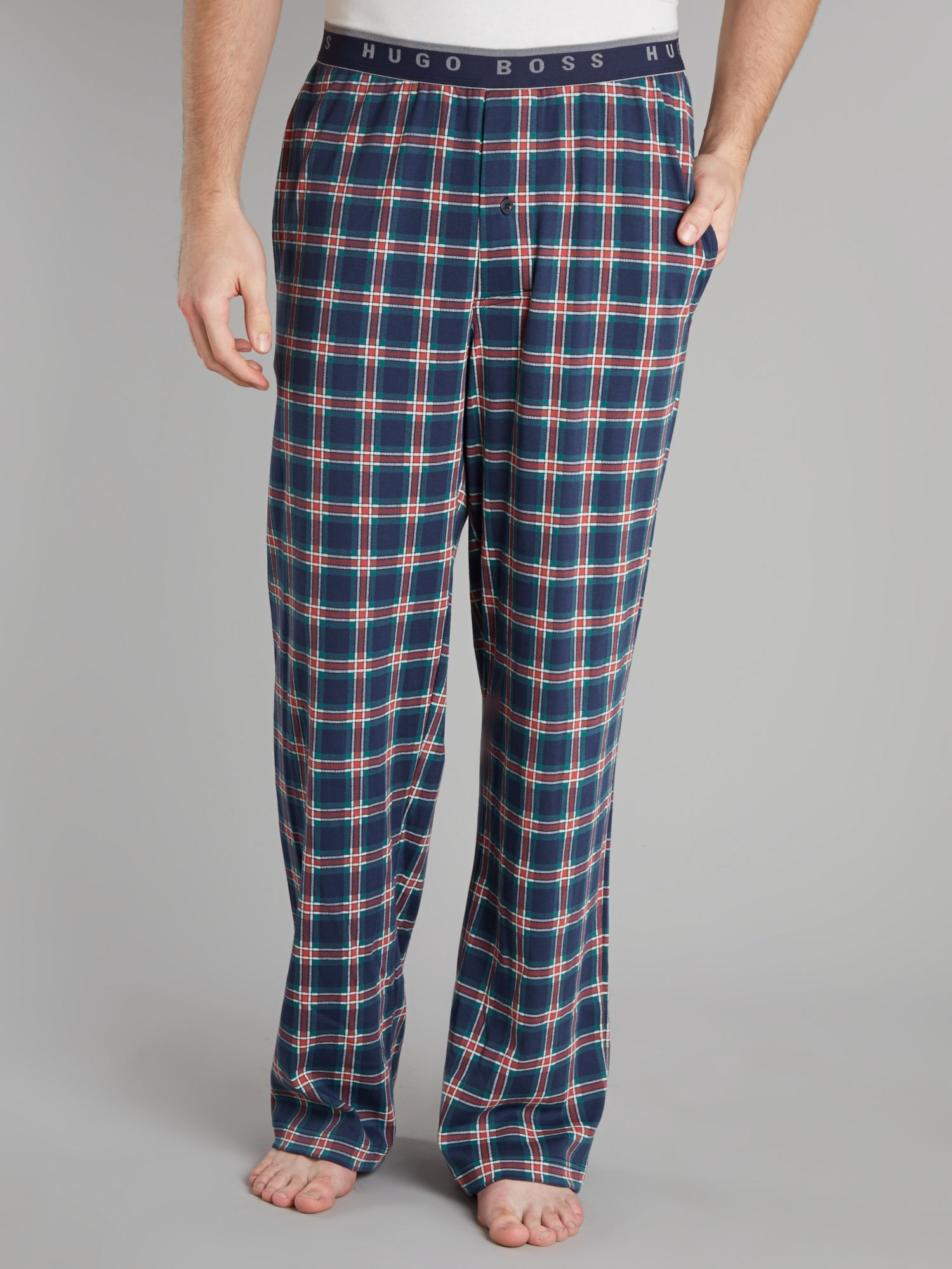 Checked jersey pants