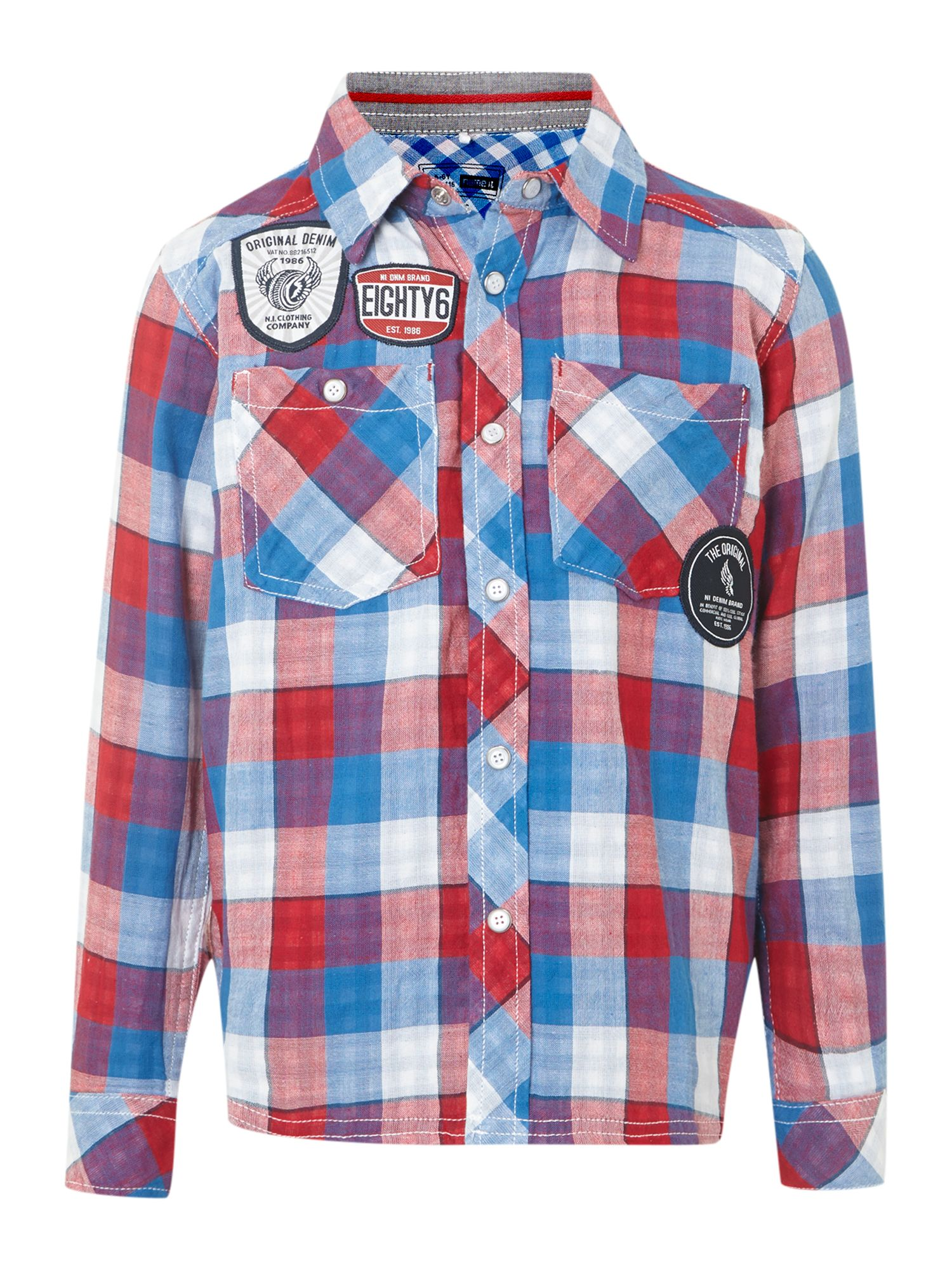 Boy`s large check shirt with badges