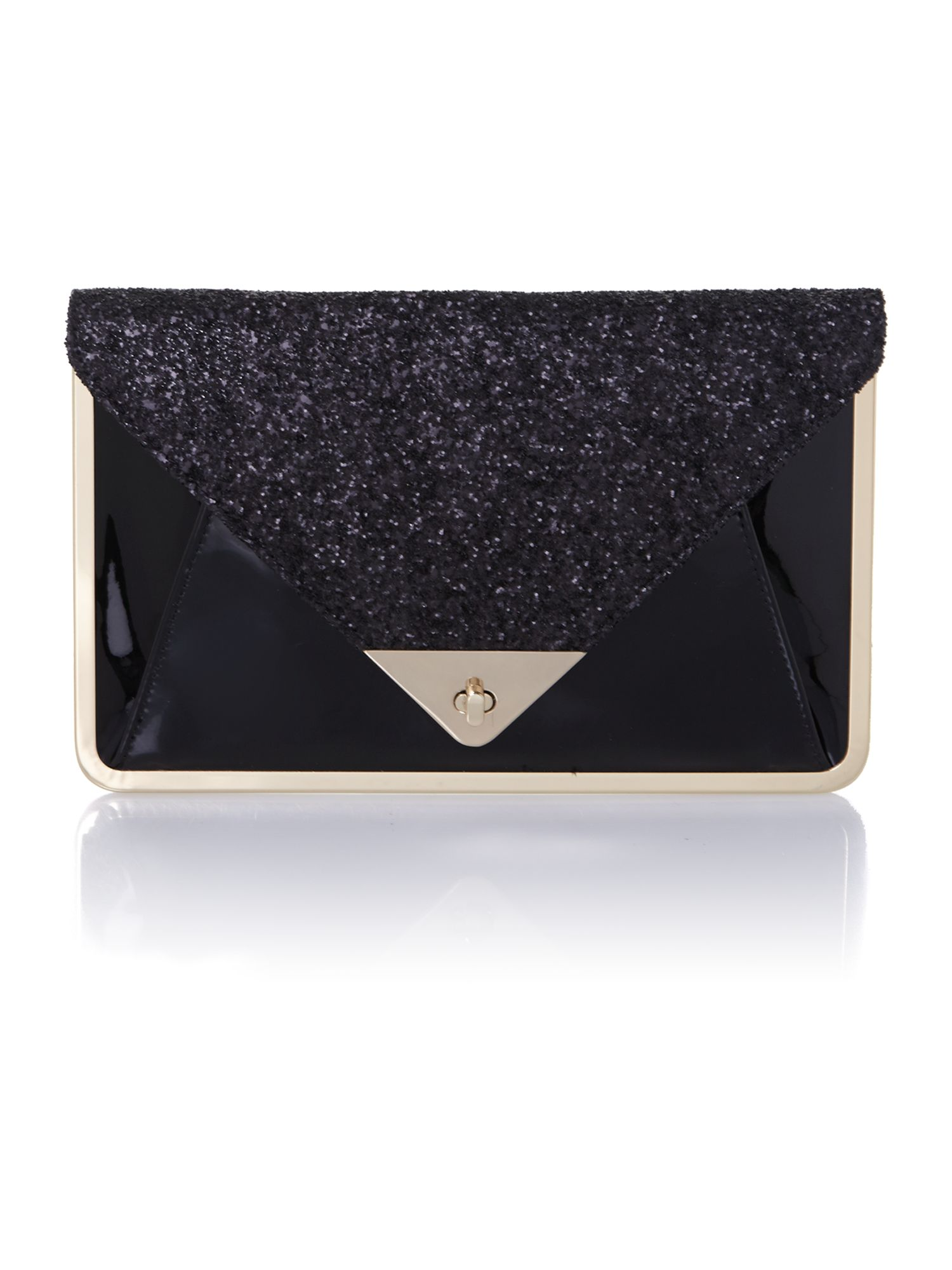 Black sparkle envelope clutch bag