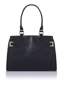 Black ziptop tote bag