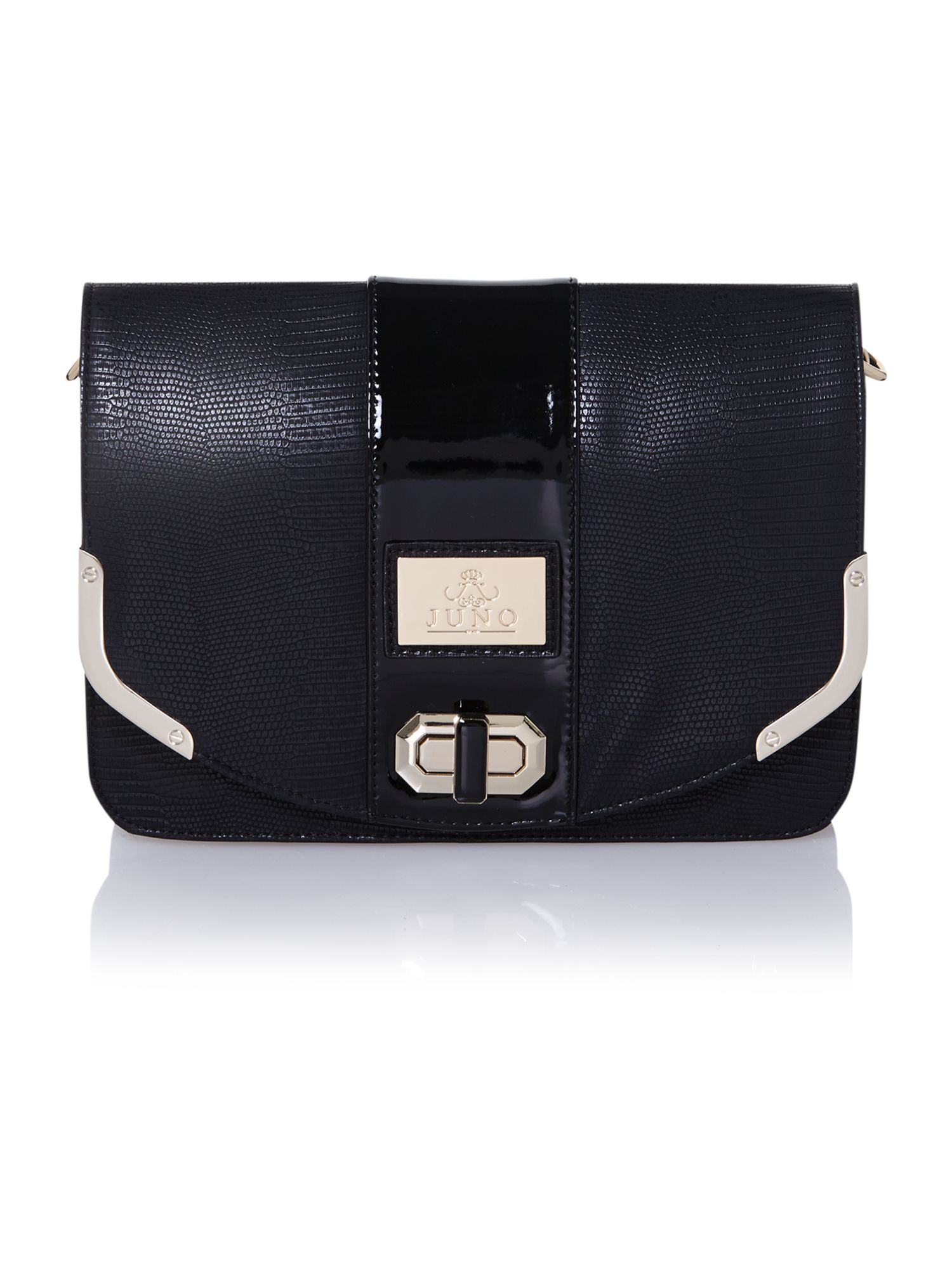 Black medium flapover shoulder bag