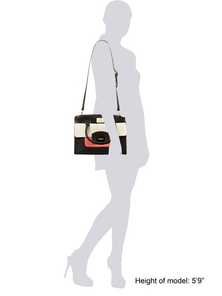 Juno Black and coral colour block tote bag