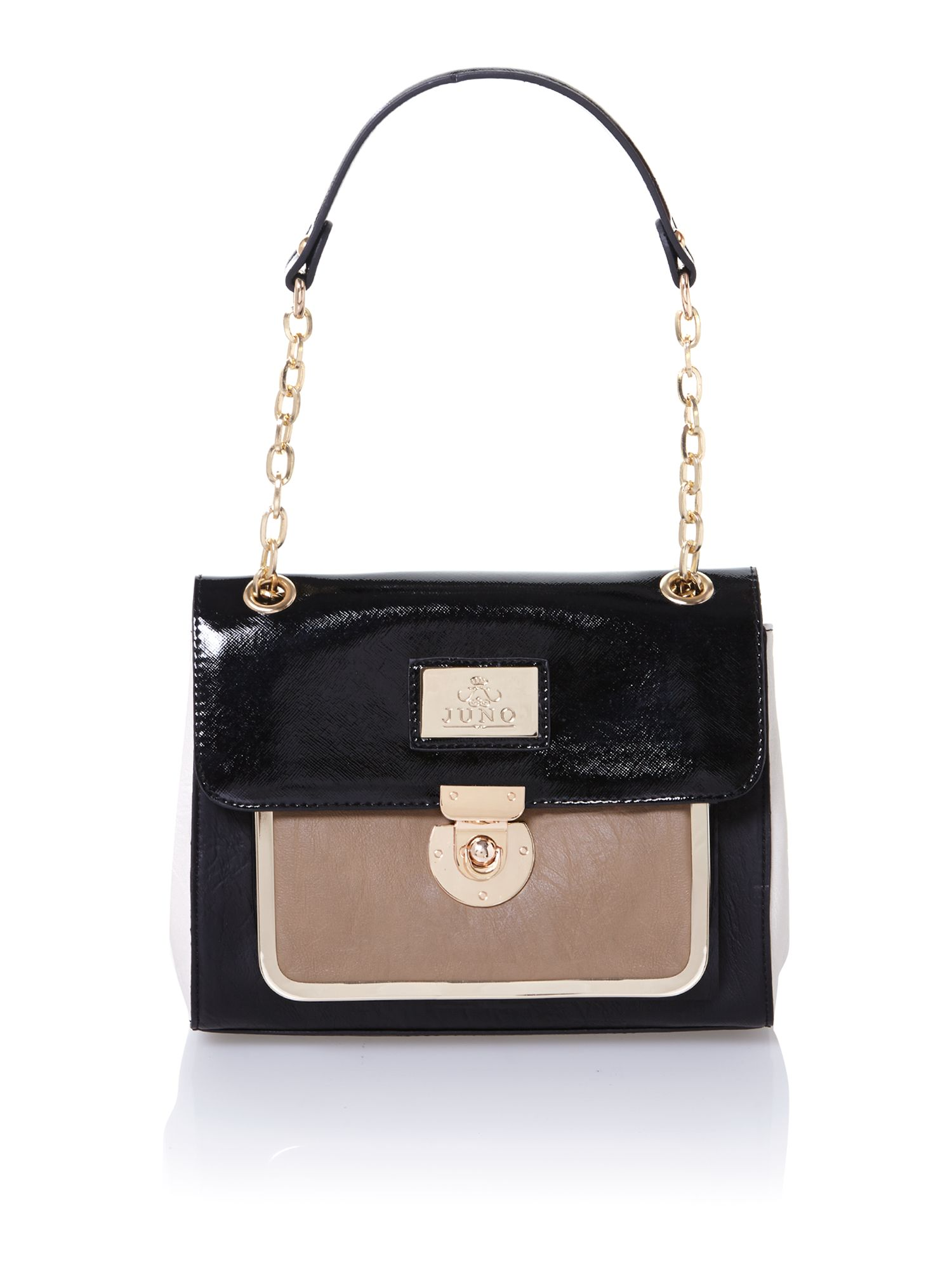 Black and neutral shoulder bag with chain strap