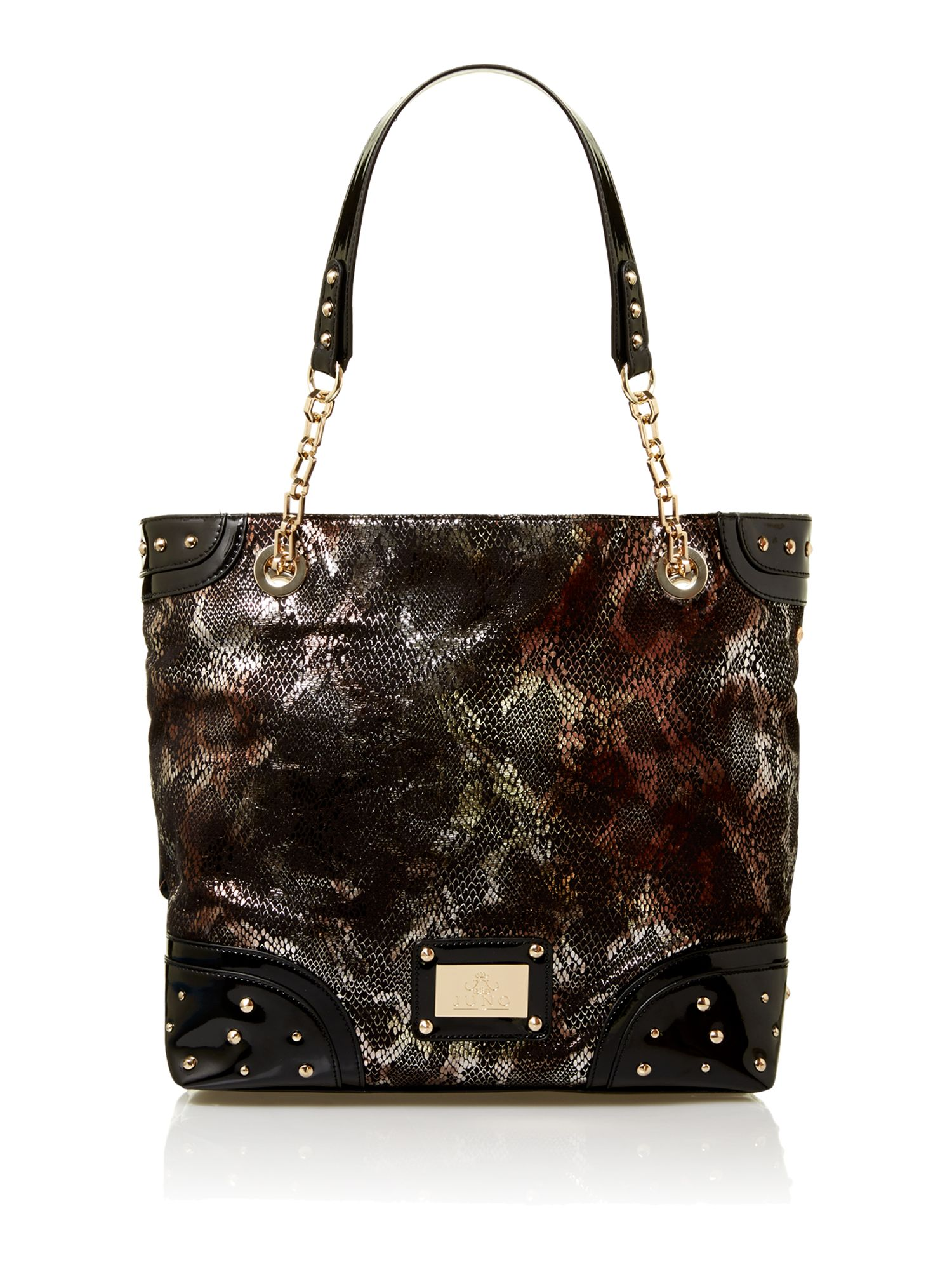 Metallic large snake tote bag