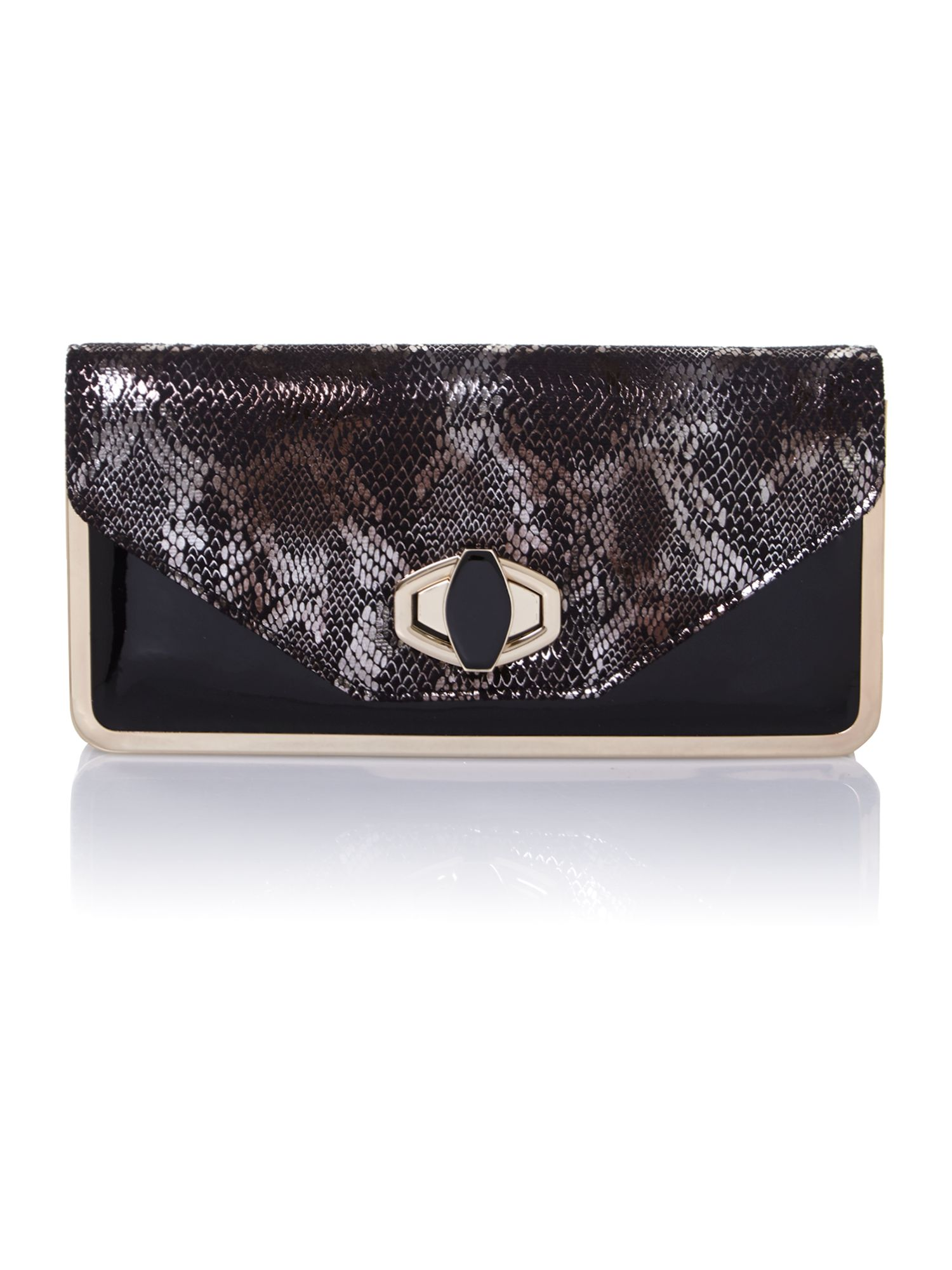 Metallic snake clutch bag